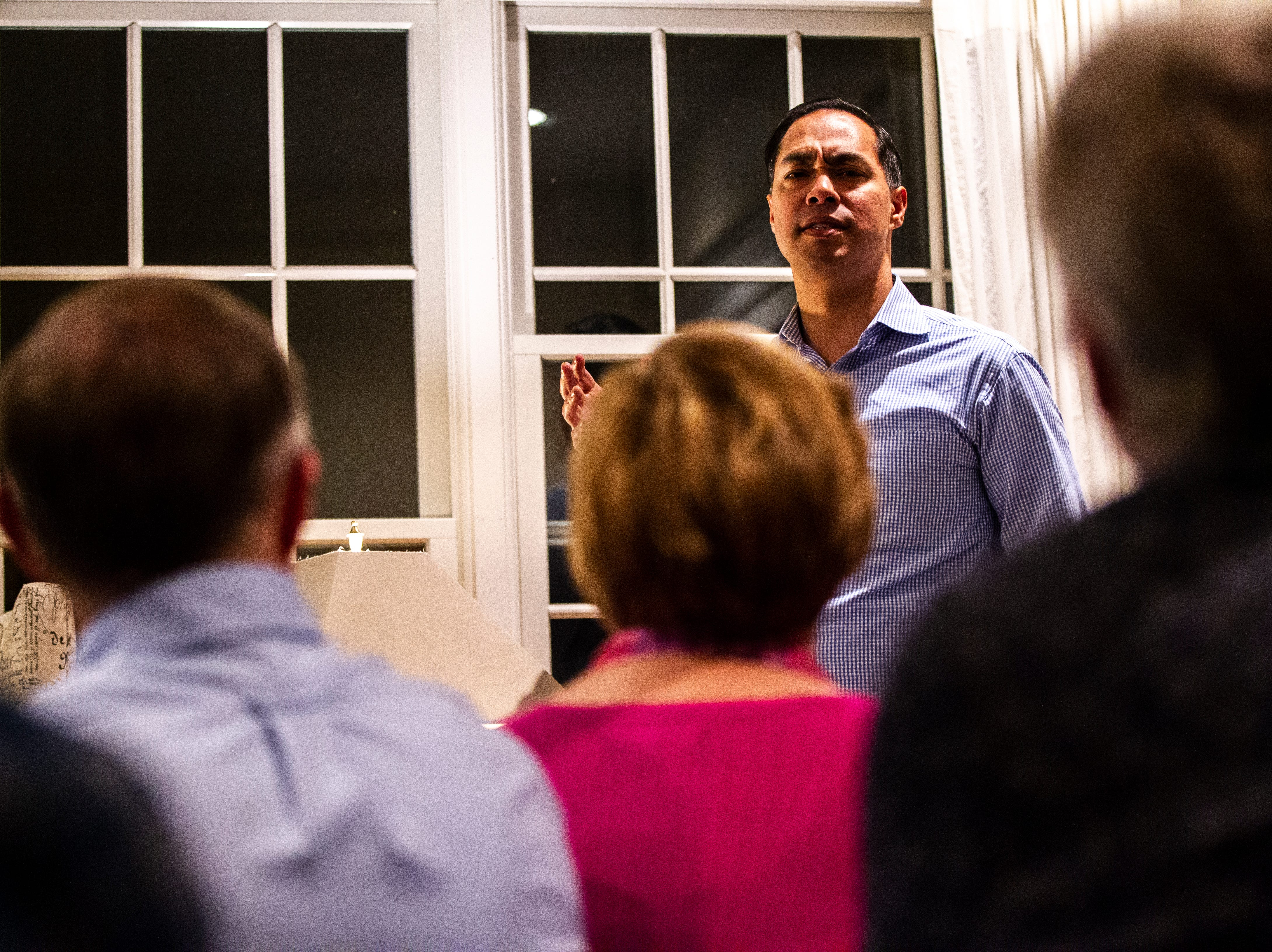 "Julián Castro speaks to supporters and local activists at the Johnson County ""Potluck Insurgency"" on Monday, Jan. 7, 2019, at a home in North Liberty, Iowa."