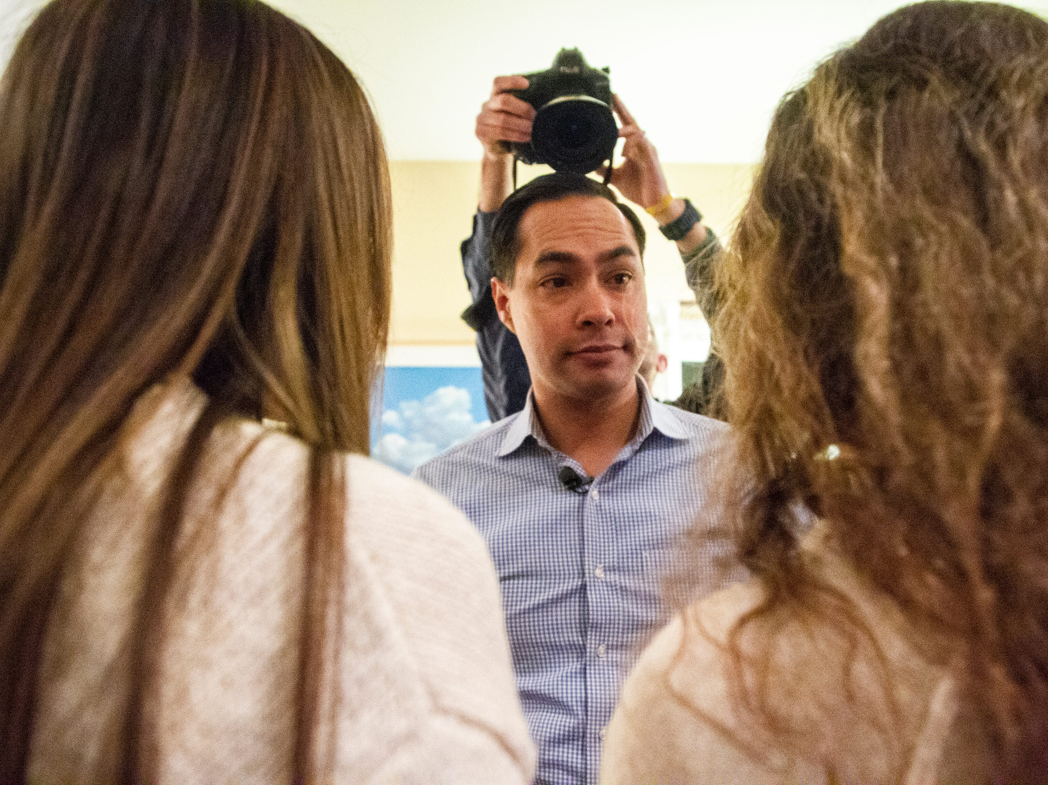 "Julián Castro speaks to supporters and local activists at the Johnson County ""Potluck Insurgency"" on Monday, Jan. 7, 2019, at a home in North Liberty, Iowa. Castro served as U.S. Secretary of Housing and Urban Development under President Barack Obama from 2014-2017"