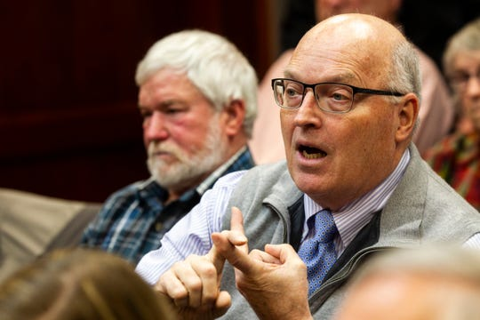 Edward Askew, a chemist who is a member of the local opposition group against slag use, speaks during a Board of Supervisors meeting on Monday, Jan. 7, 2019, at Muscatine County Administration Building in Muscatine, Iowa.