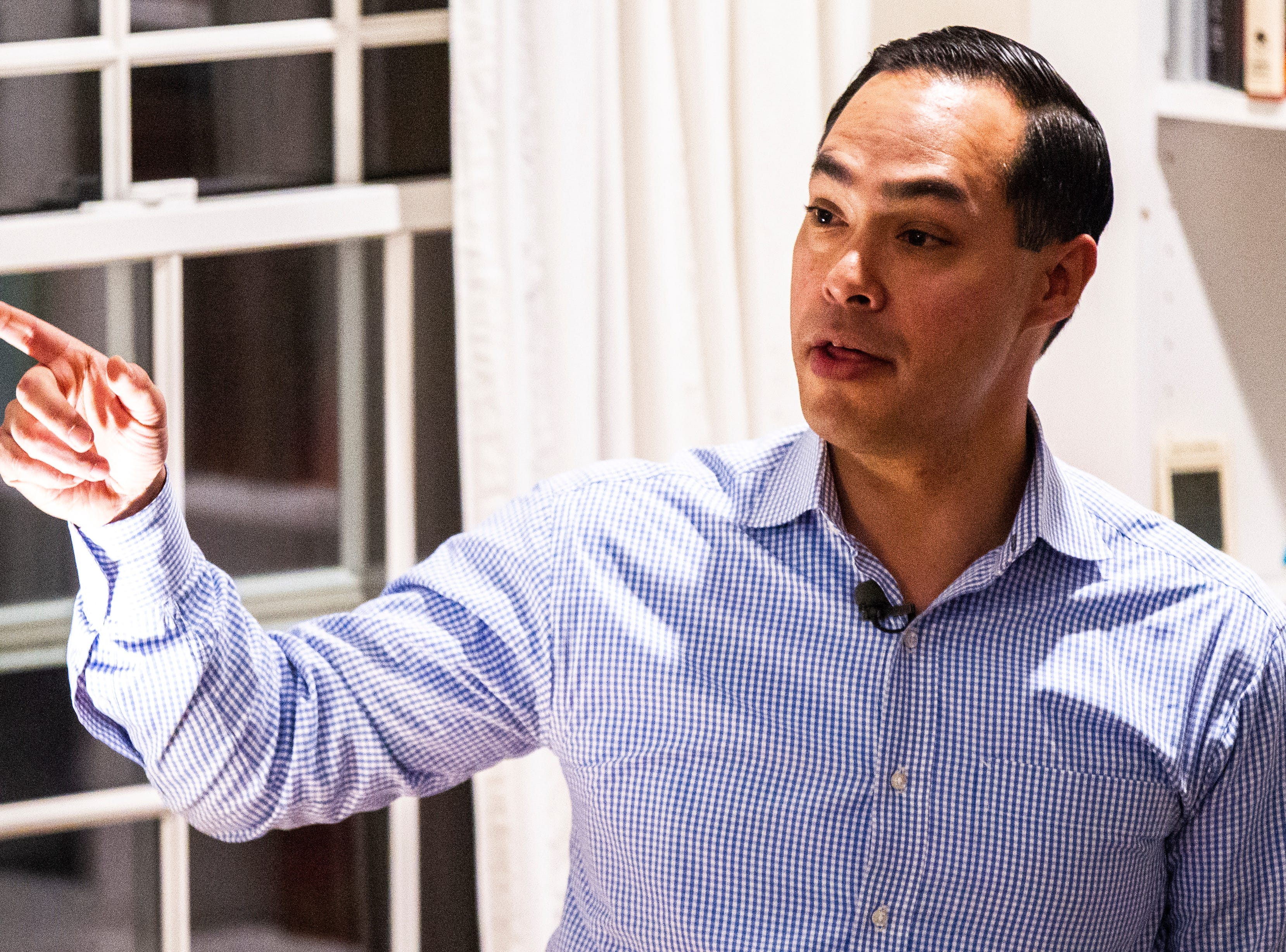 "Julián Castro speaks to supporters and local activists at the Johnson County ""Potluck Insurgency"" on Monday, Jan. 7, 2019, at a home in North Liberty, Iowa. Castro has scheduled two events in Nevada in addition to his Iowa stop in North Liberty."
