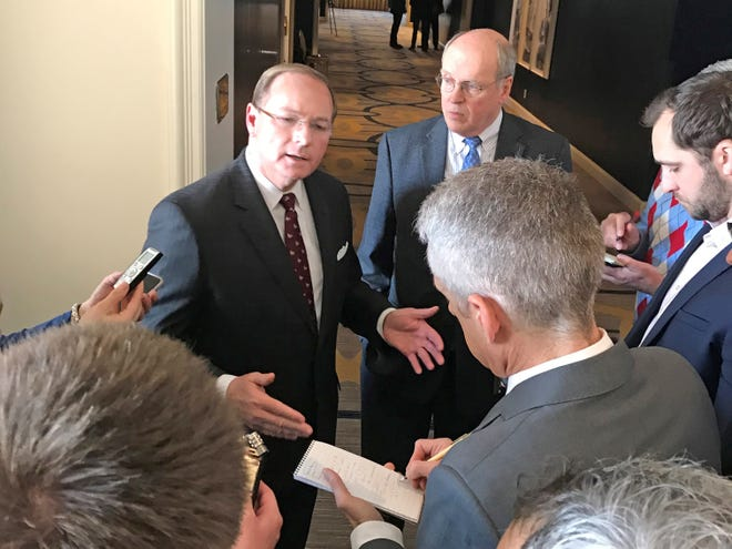 Mississippi State University President Mark Keenum addresses the media in California. Keenum, who serves as chair of the College Football Playoff Board of Managers, said he thinks the CFP has been a success through five seasons.