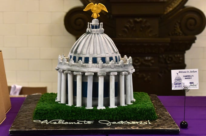 A Campbell's Bakery cake decorated as the dome of the state capitol adorned a Visit Jackson table in the lobby of the capitol during opening day of the 2019 legislative session. Tuesday, January 8, 2019. Jackson, Miss.