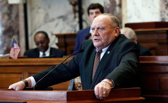 Republican Terry Burton of Newton, president pro tempore of the Mississippi Senate, pauses as he tells the body he is resigning his leadership role, weeks after being charged with second-offense drunken driving, moments after the beginning of the 2019 legislative session at the Capitol in Jackson, Miss., Tuesday, Jan. 8, 2019.