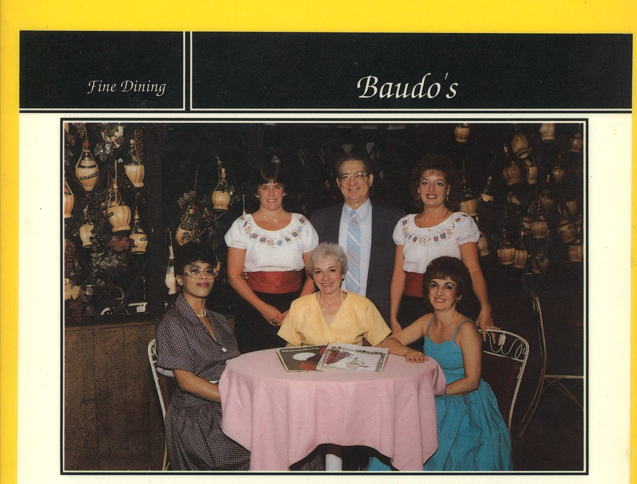 """A picture of Baudo's Restaurant staff is included in an """"Unmistakably Jackson"""" feature story in Jackson, Tenn. Helen Echoles, bottom left, started working for the Baudo family restaurant as a dishwasher at their Hollywood Drive location and later became their kitchen manager of several years. Clockwise from left: Margie Oswald, waitress of 30 years, Basil Baudo, Rosie Starfill, waitress of more than 40 years, Sharon Baudo Smith, Helen Baudo, founder."""