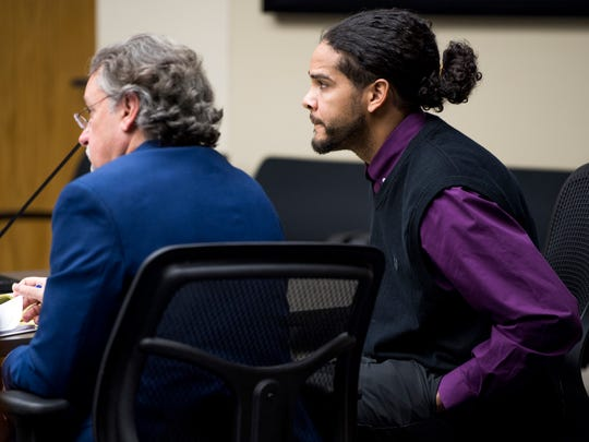 Ralpheal Coffey, right, and defense attorney Russell Greene during Coffey's trial in Knox County Criminal Court on Tuesday, January 8, 2019.