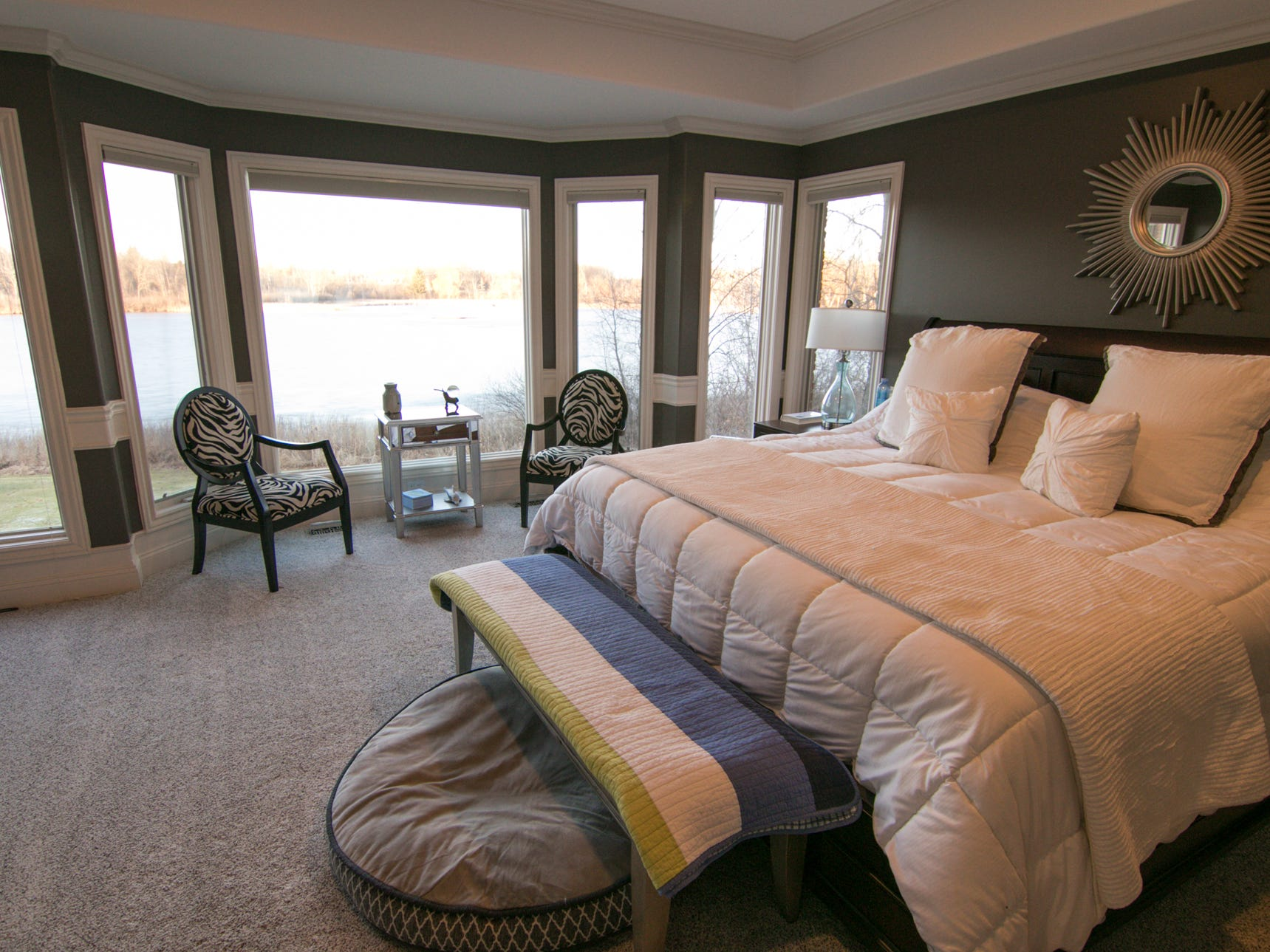 The master bedroom takes advantage of lakefront views, shown Friday, Jan. 4, 2019.