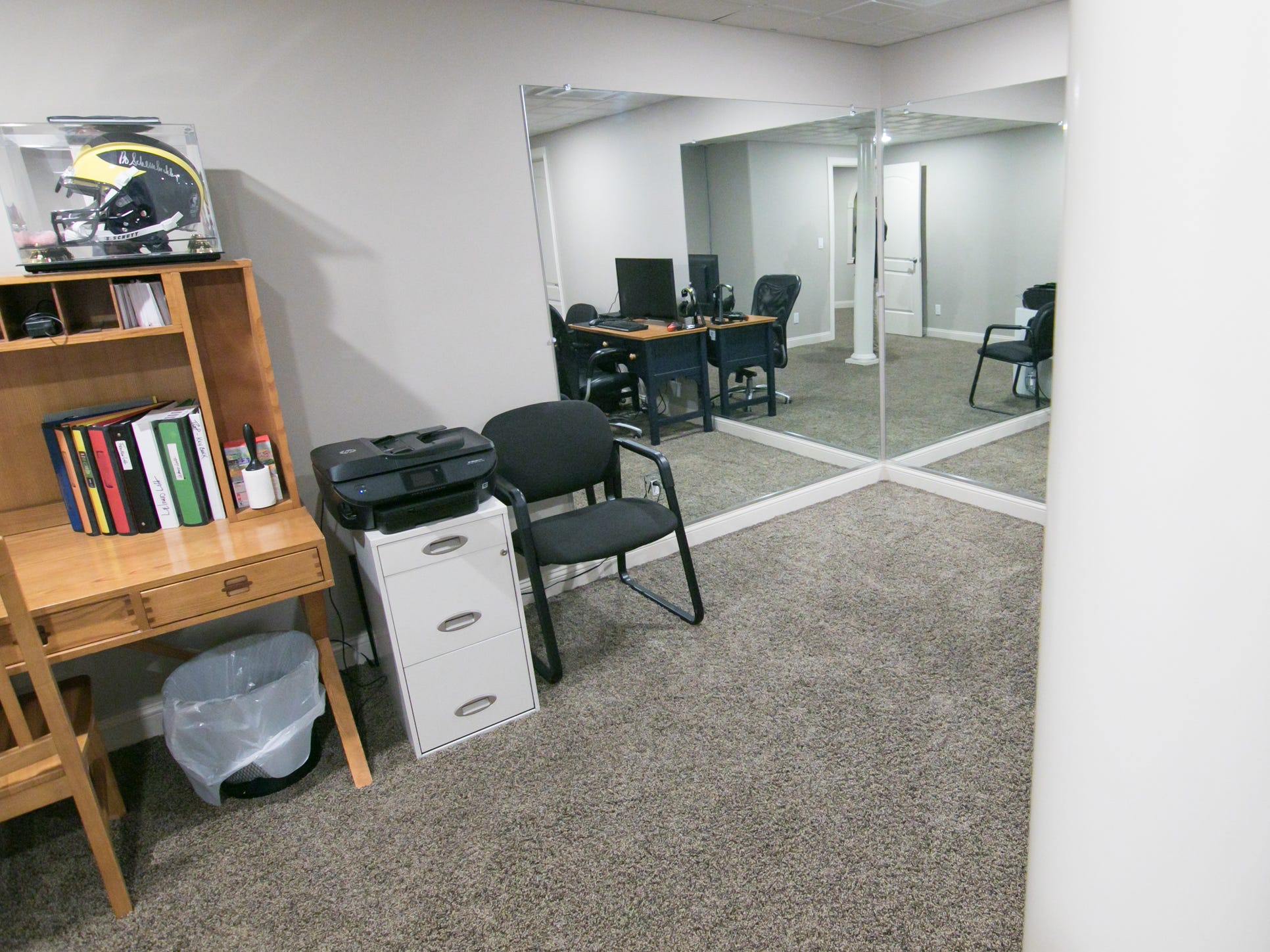 A room initially set up as Michelle Harris's workout room, shown Friday, Jan. 4, 2019, has now become a study space.