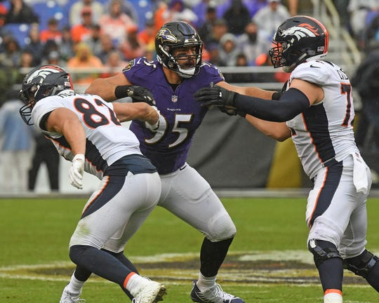 Zach Sieler (95) of Pinckney played in two games for the Baltimore Ravens as a rookie defensive lineman in 2018.