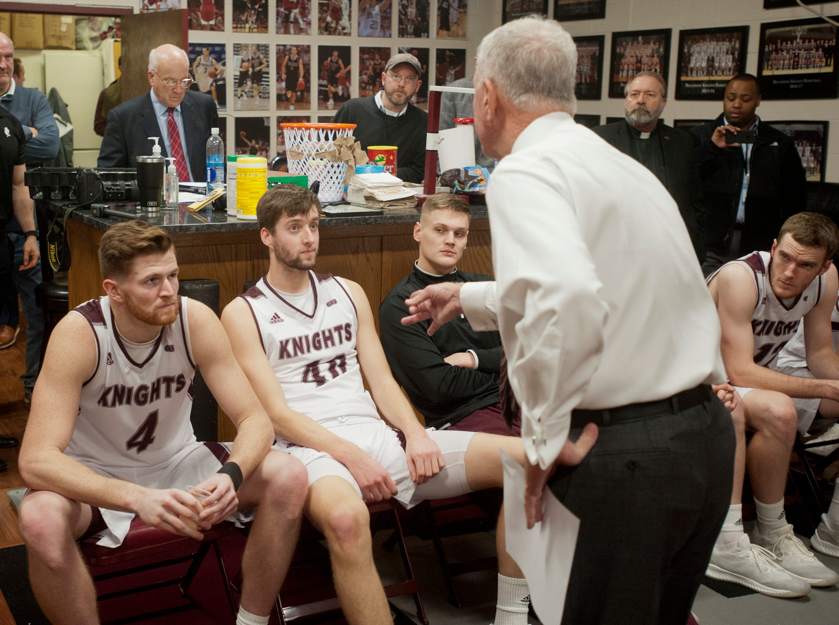 After singling out Bellarmine guard Dylan Penn during the game, he told the player that there was nothing personal in his actions, then pointed at Bellarmine forward Ethan Claycomb (second from left) to ask him if he hadn't experienced a similar personal tutelage experience during his Bellarmine basketball career.18 December 2018