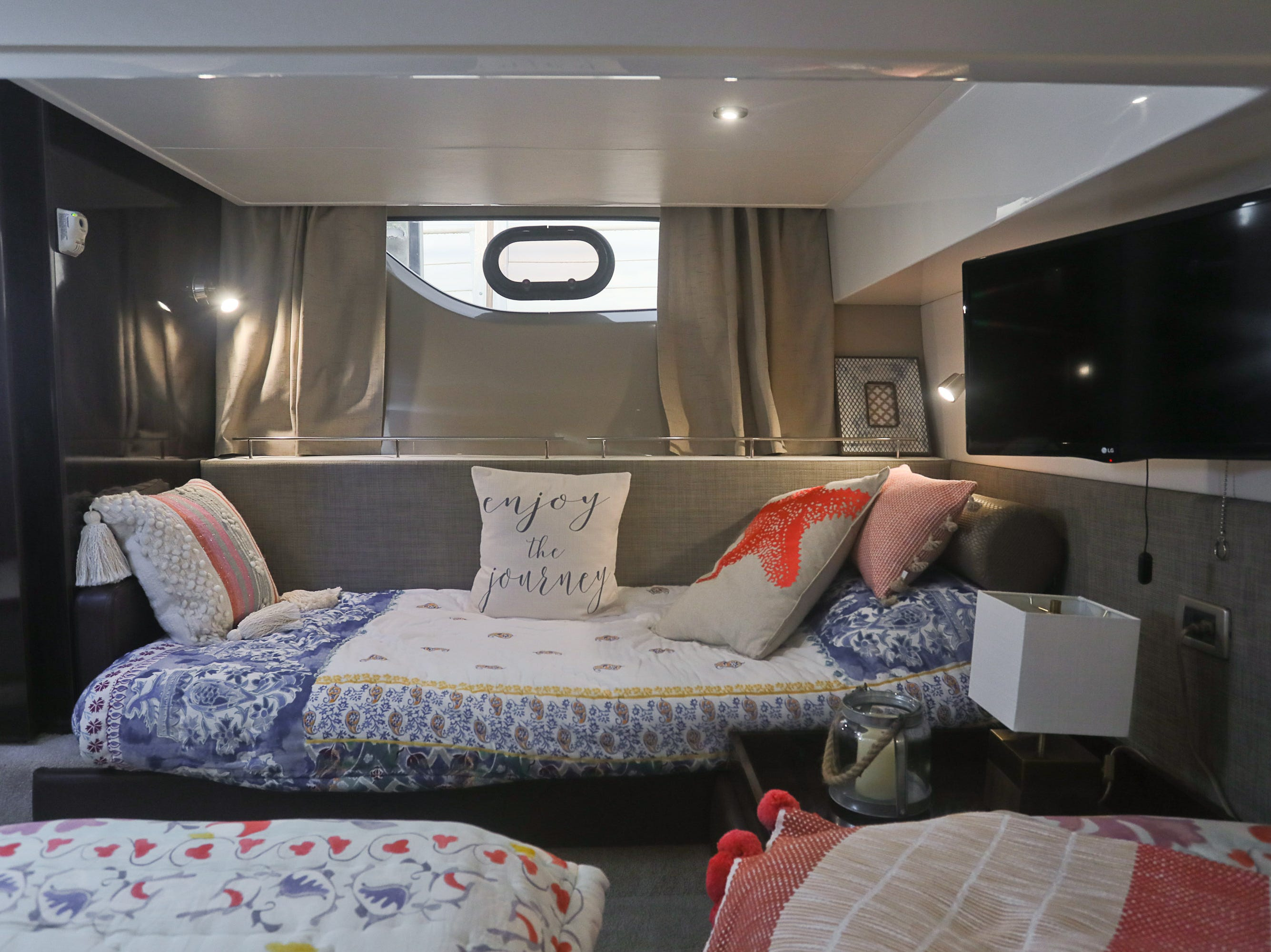 The guest stateroom of a 2017 Sea Ray 400 Sundancer at the Captain's Quarters marina in Louisville, KY. Dec. 17, 2018