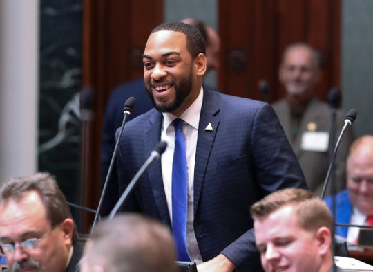 Newly elected Rep. Charles Booker made comments from the House floor on the first day of the legislative session in Frankfort.  