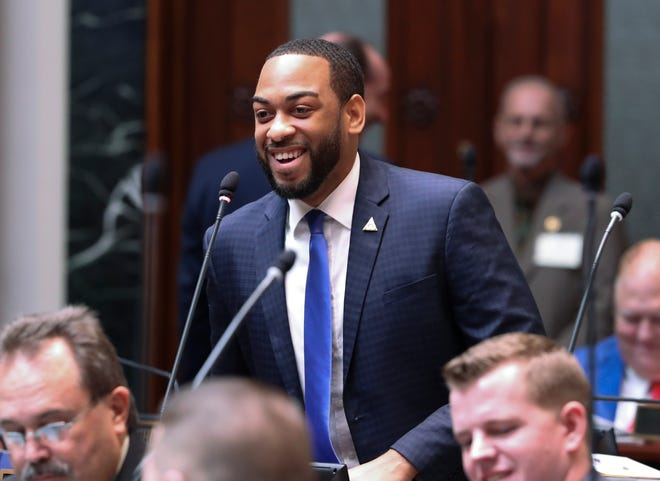 Newly elected Rep. Charles Booker made comments from the House floor on the first day of the legislative session in Frankfort.  Jan. 8, 2019