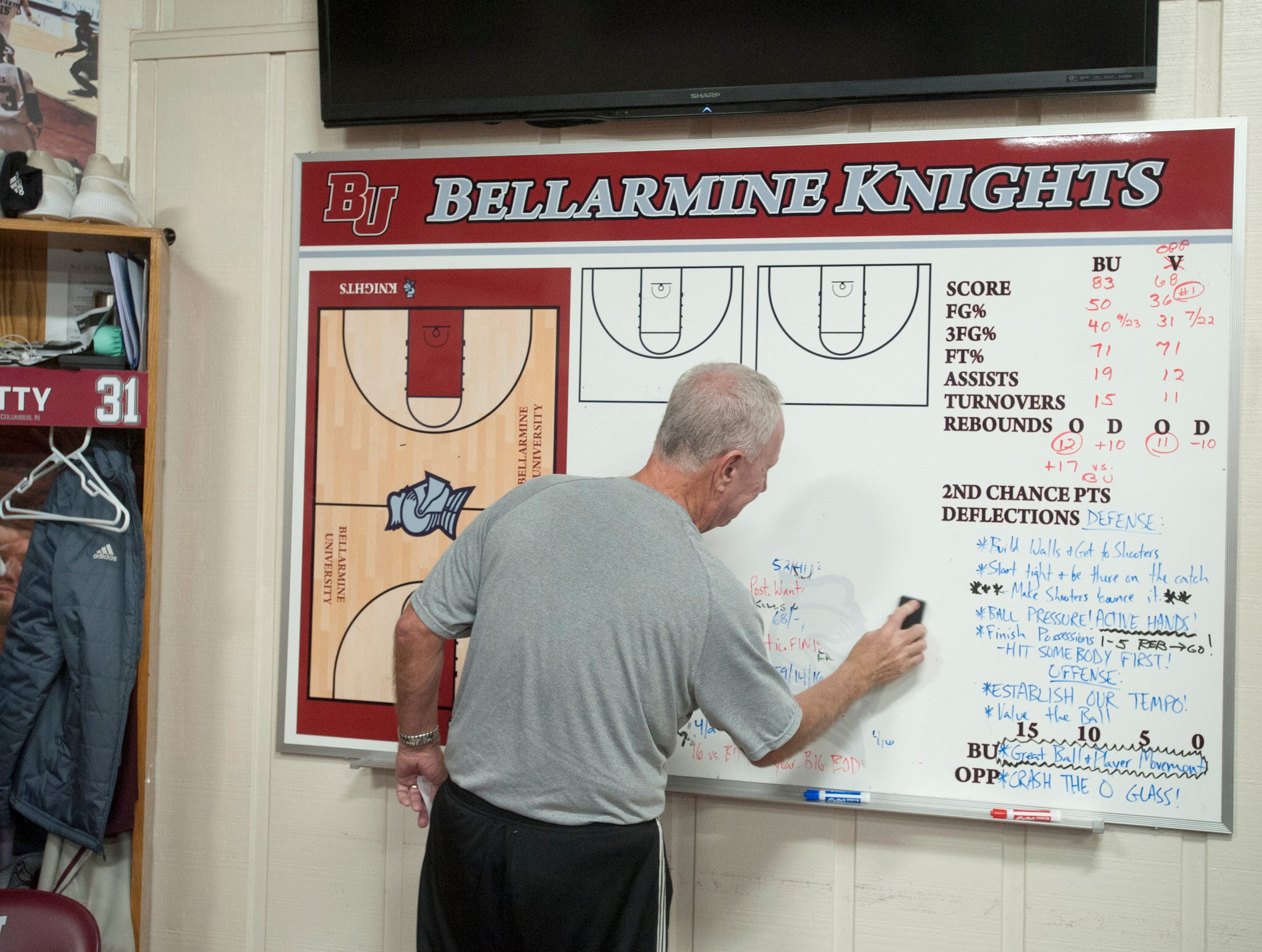 With his players warming up outside of the locker room, Bellarmine head basketball coach Scott Davenport cleans the whiteboard.18 December 2018