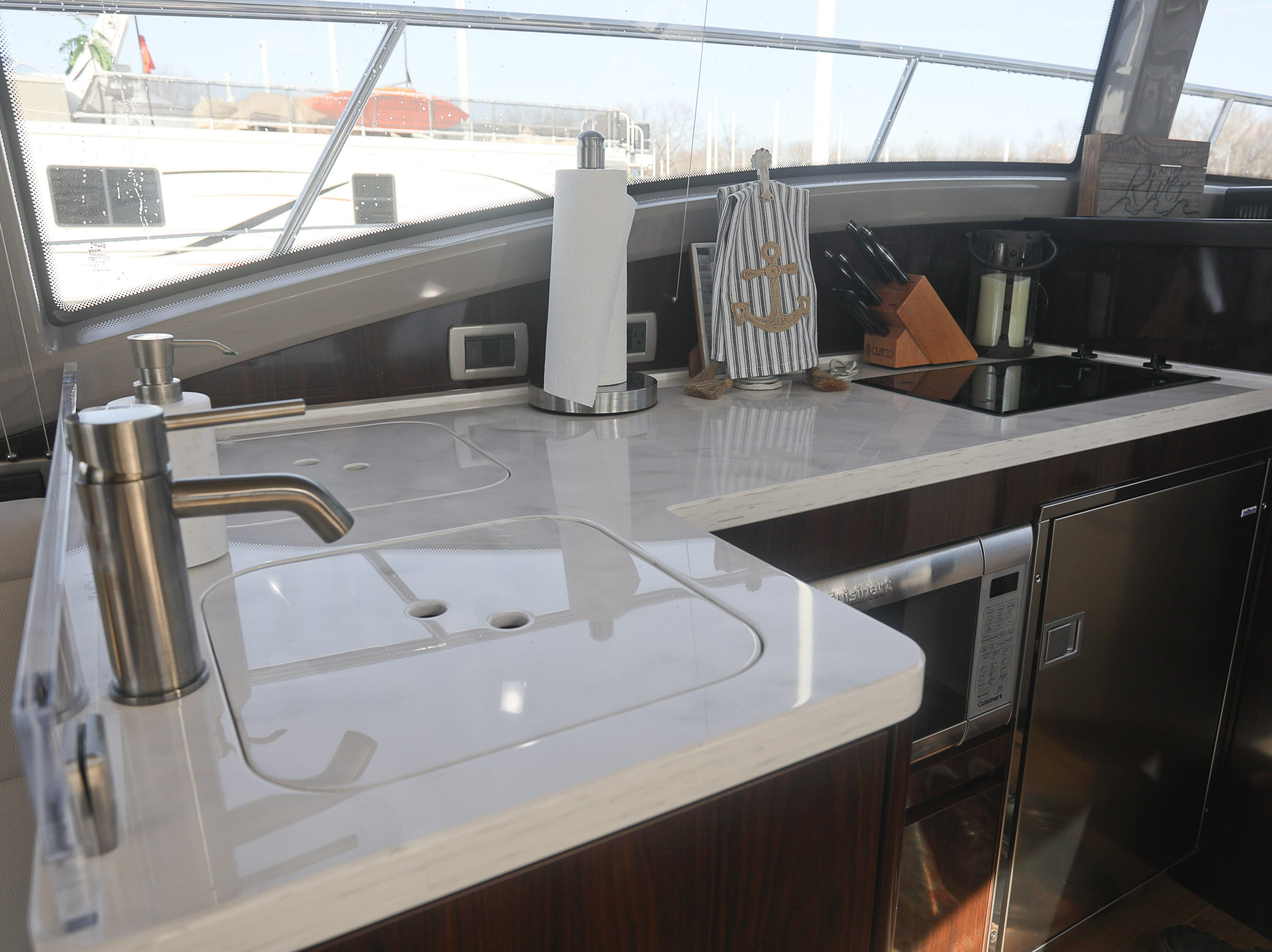The galley of a 2017 Sea Ray 400 Sundancer at the Captain's Quarters marina in Louisville, KY. Dec. 17, 2018