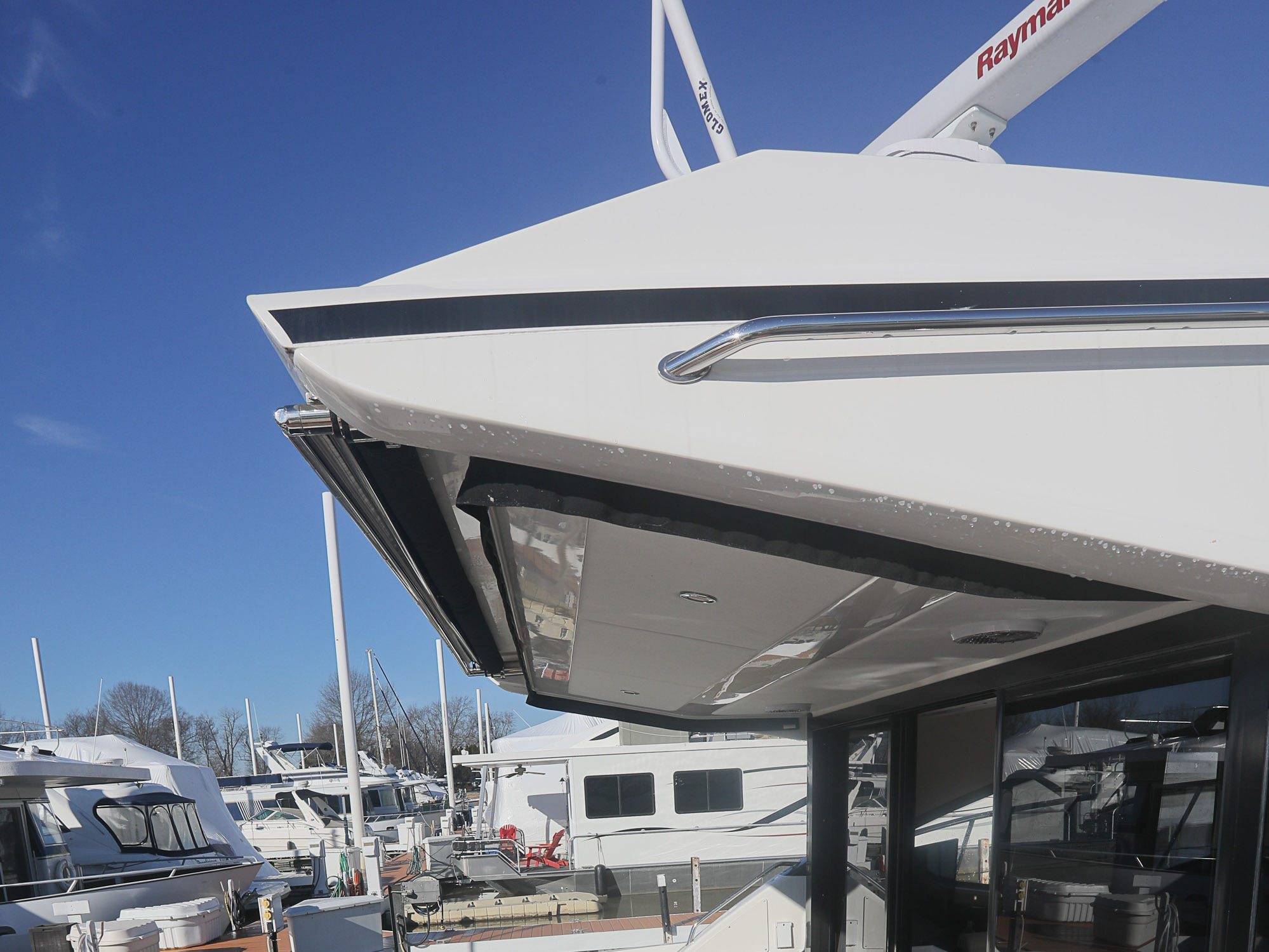The stern of a 2017 Sea Ray 400 Sundancer at the Captain's Quarters marina in Louisville, KY. Dec. 17, 2018