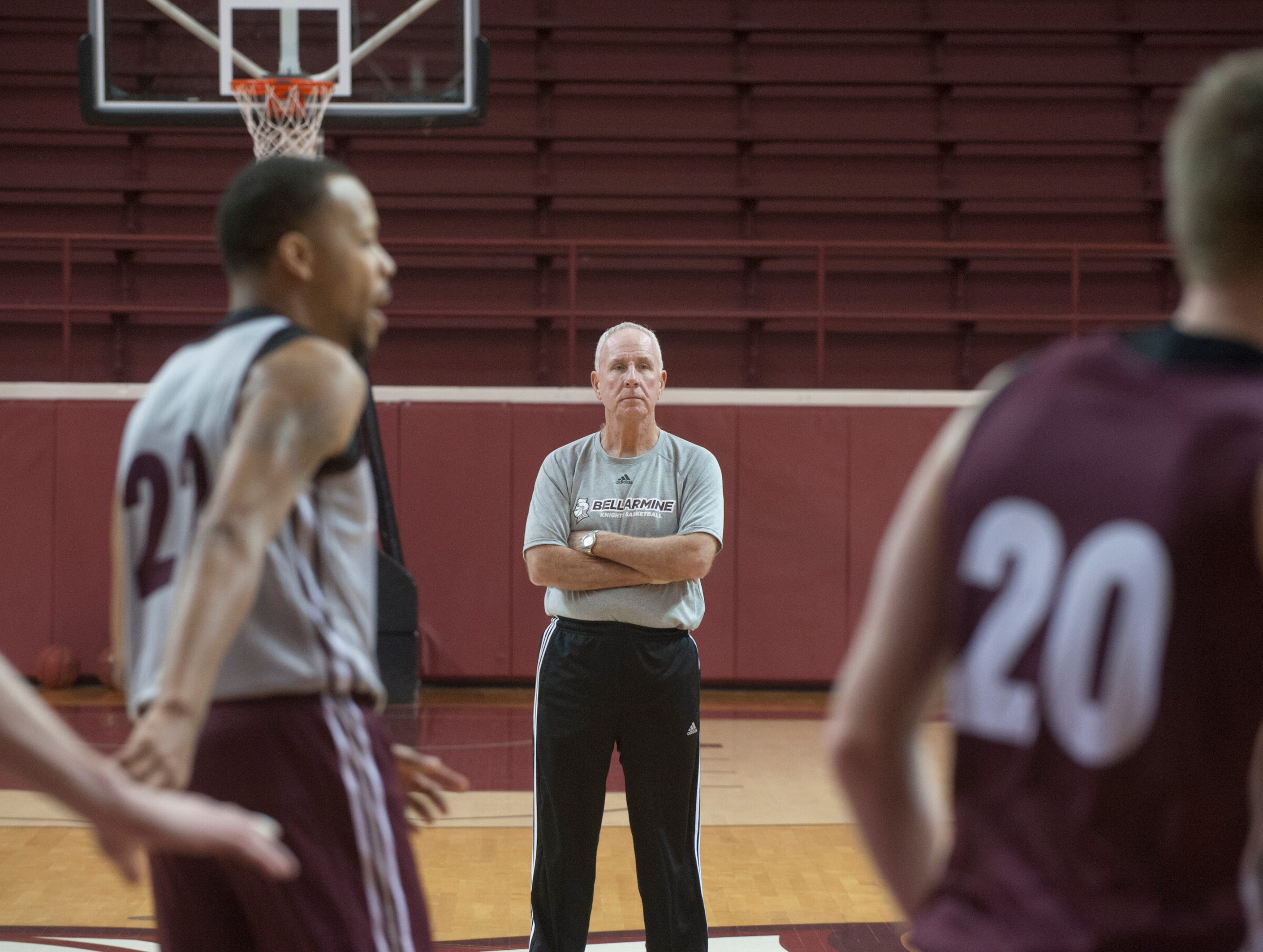 Bellarmine Knights head basketball coach Scott Davenport, in his 14th season of coaching at Bellarmine, watches his players during a practice drill at the university.18 December 2018