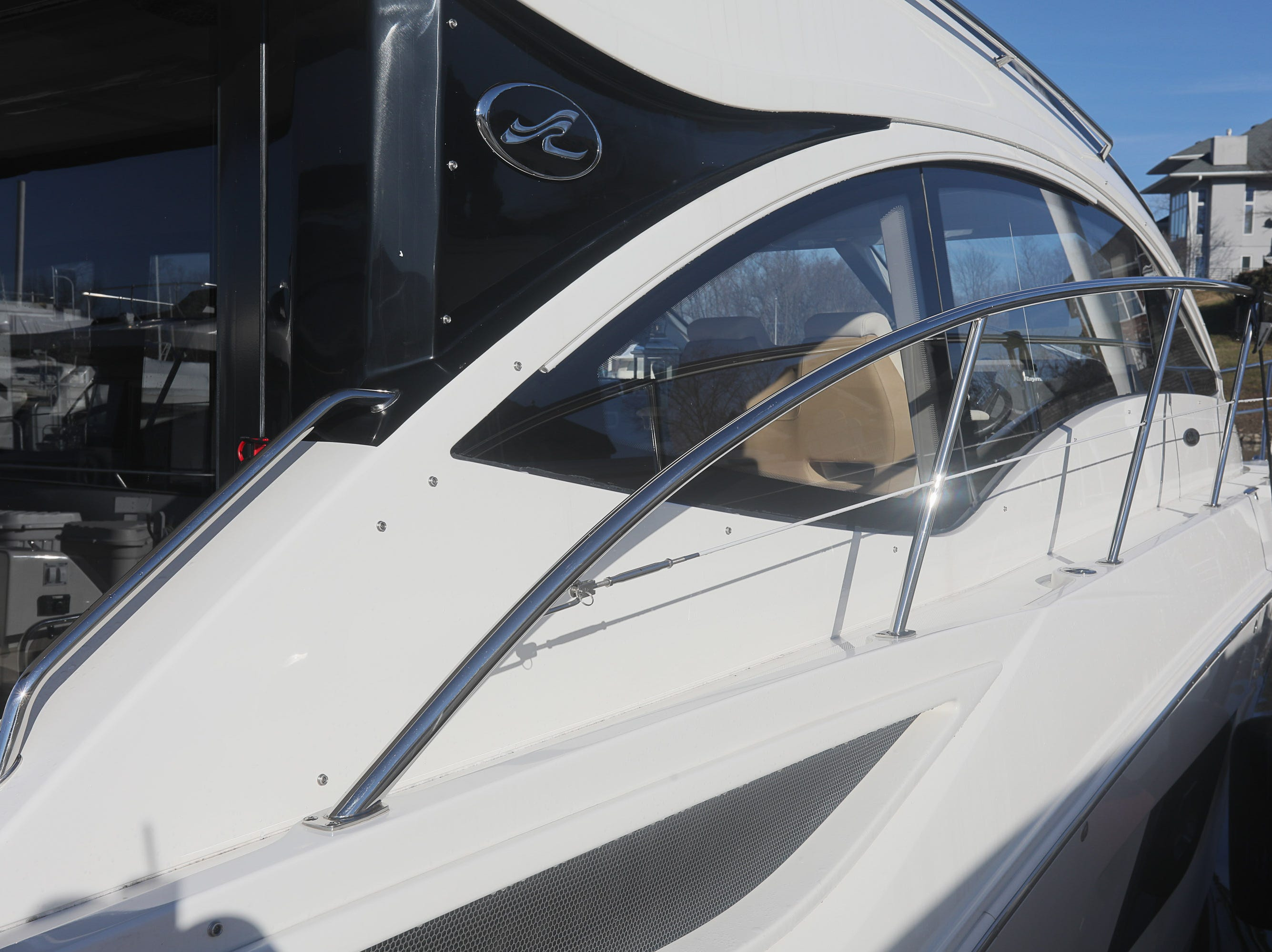 A 2017 Sea Ray 400 Sundancer at the Captain's Quarters marina in Louisville, KY. Dec. 17, 2018