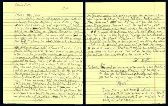 A letter from Calvin Kelly to Lansing State Journal reporter Matt Mencarini.