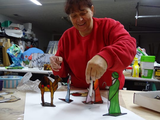 Pia Douglas, who hopes to open a paint-your-own-pottery studio with business partner Rachel McCall, teaches stained glass and glass fusing. All sorts of things can be made out of stained glass, she says, including a Nativity scene.