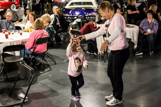 January 07 2019 - Kinzley Matthews, 3, dances with her grandmother, Tami Arledge, from Ohio, during Elvis' Birthday Bash at Elvis Presley's Memphis on Monday night. Elvis Presley's birthday is January 8th and will be celebrated at Graceland with a Elvis Birthday Proclamation Ceremony.