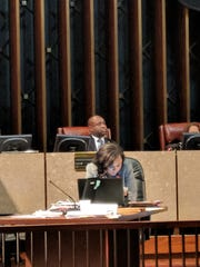 Newly-appointed Memphis City Council member Sherman Greer sits at the dais in council chambers after being sworn into office on Jan. 8.