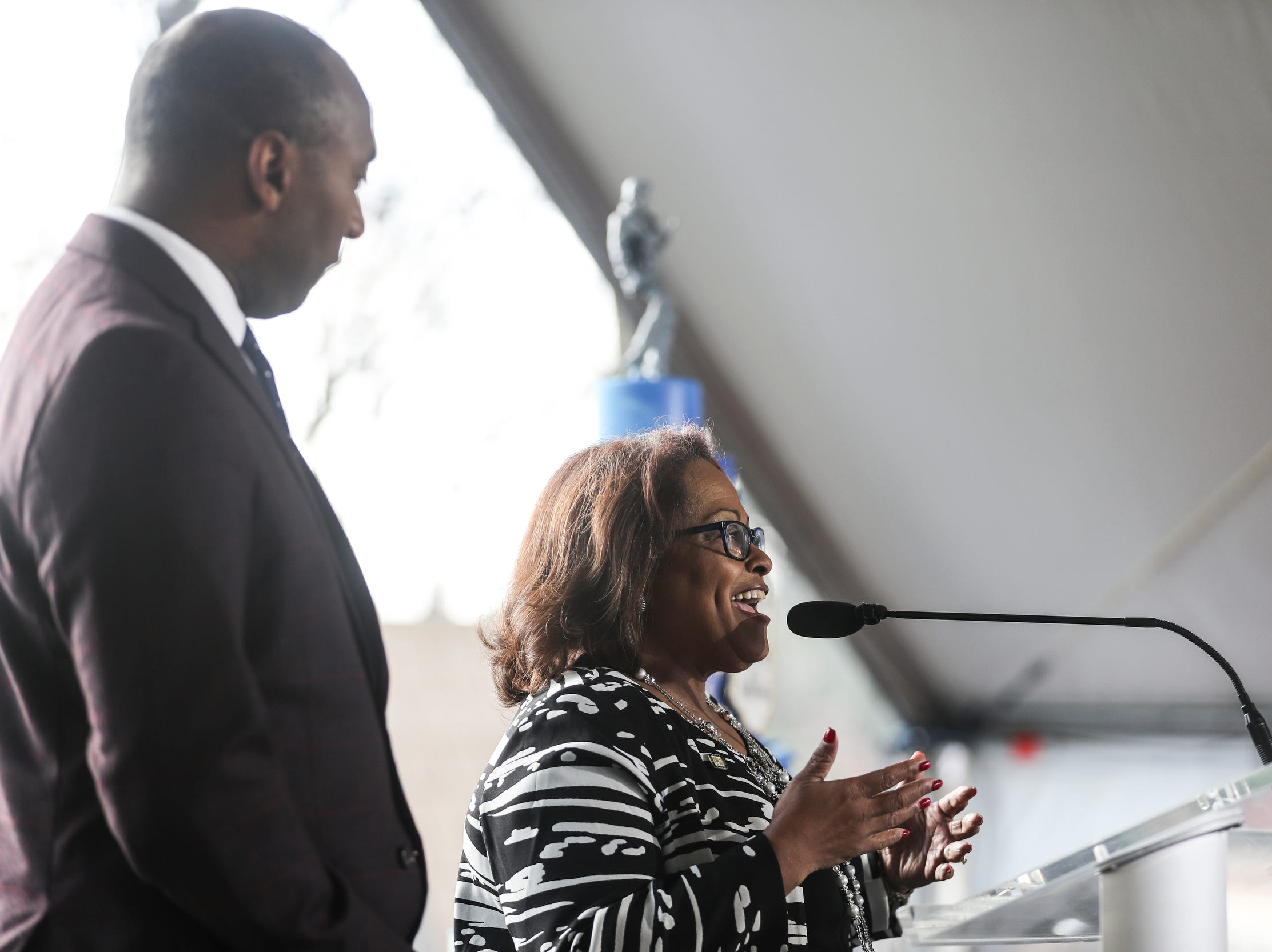 January 08 2019 - Councilwoman Patrice Jordan Robinson speaks during Tuesday's Elvis Birthday Proclamation Ceremony on Graceland's north lawn. Tuesday would have been Elvis' 84th birthday.
