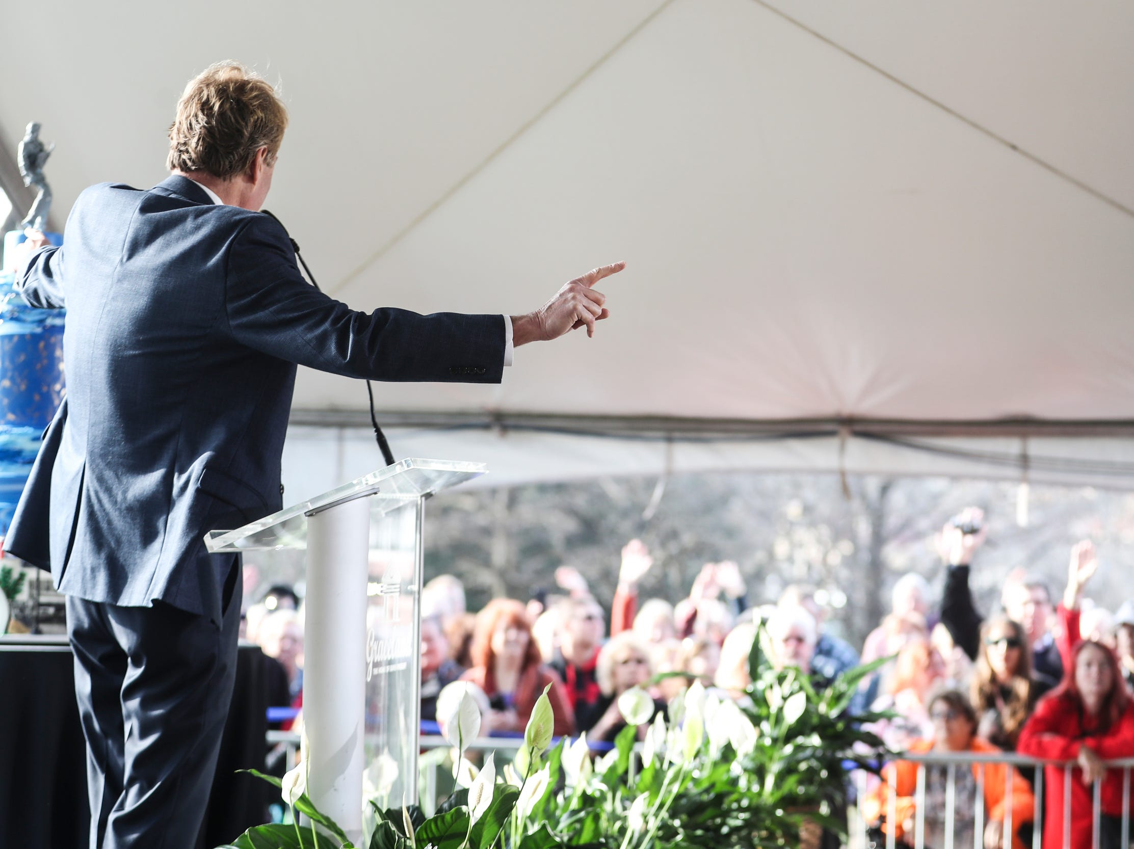 January 08 2019 - Kevin Kane, president and CEO of the Memphis Convention & Visitors Bureau, thanks fans gathered on Graceland's north lawn on Tuesday to celebrate during the Elvis Birthday Proclamation Ceremony. Tuesday would have been Elvis' 84th birthday.