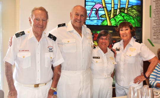 """The public is invited to a festive evening of wine and hors d'oeurves from 5 until 7 p.m., Friday, Jan. 25 at San Marco Catholic Church Parish Hall on San Marco Road hosted by America's Boating Club-Marco Island, also known as the Marco Island Sail and Power Squadron. """"If you love water activities and want to have fun meeting new people, this is a great event to attend,"""" said Gene Burson, commander of America's Boating Club-Marco Island. Cost is $20 per person in advance ($25 at the door). Tickets may be purchased in advance by contacting Sonya Benson at (SBensonWI@Gmail.com) or 414-617-5718. Above: John Noffze, Dick Rogers, Tippy Cavanagh and Andy Battaglia."""