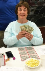 Knights of Columbus San Marco Council #6344 held their first Bingo night charity fundraiser of Winter/Spring 2019 on Jan. 3, in the San Marco Parish Center. Above, the big jackpot winner, Sandy Alaimo of Illinois.