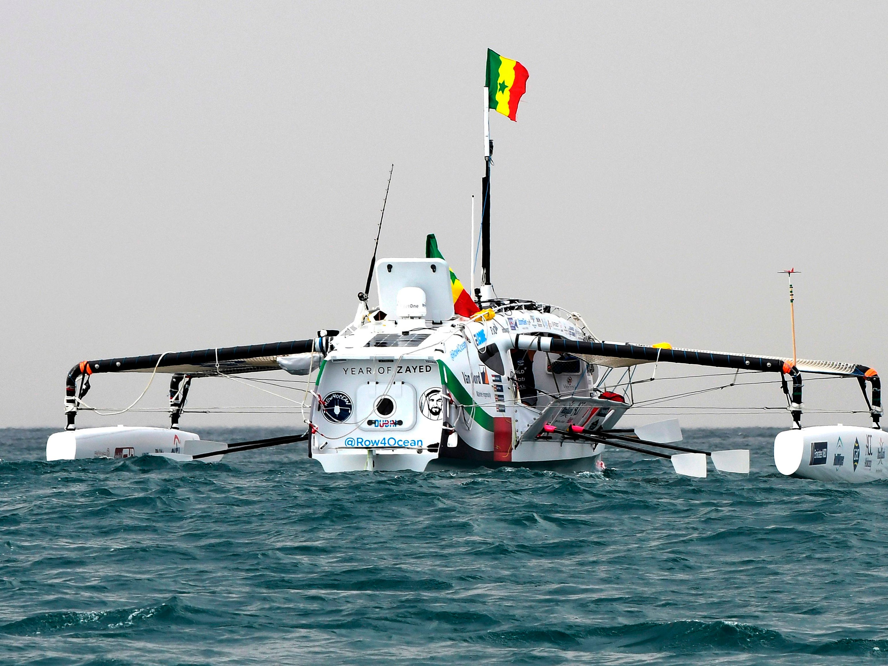 The Row4ocean rowing trimaran leaves Dakar, West Africa, to cross the Atlantic on Dec. 14, 2018. The trimaran took off for a crossing of the Atlantic Ocean  to Suriname to draw attention to the plastic pollution of the seas and rivers. The crew hopes the project will raise funds to help clean up the Indus River, one of the largest rivers in Asia and one of the 10 most polluted rivers in the world, according to a study published by the journal Environmental Science & Technology.