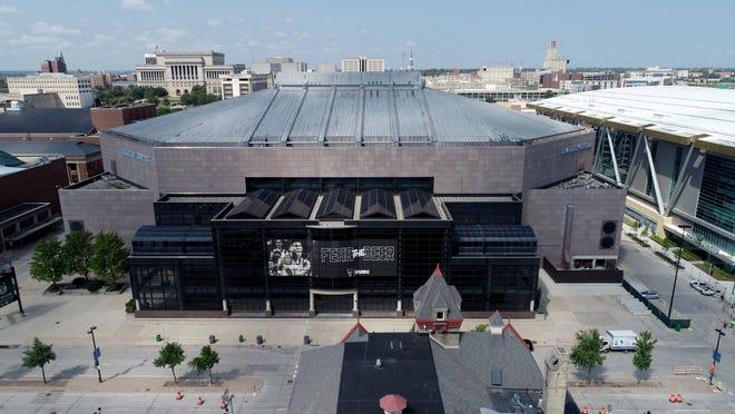 The BMO Harris Bradley Center is pictured next to the new Milwaukee Bucks Fiserv Forum.