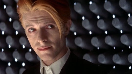 """David Bowie is """"The Man Who Fell to Earth"""" in Nicolas Roeg's 1976 sci-fi classic."""