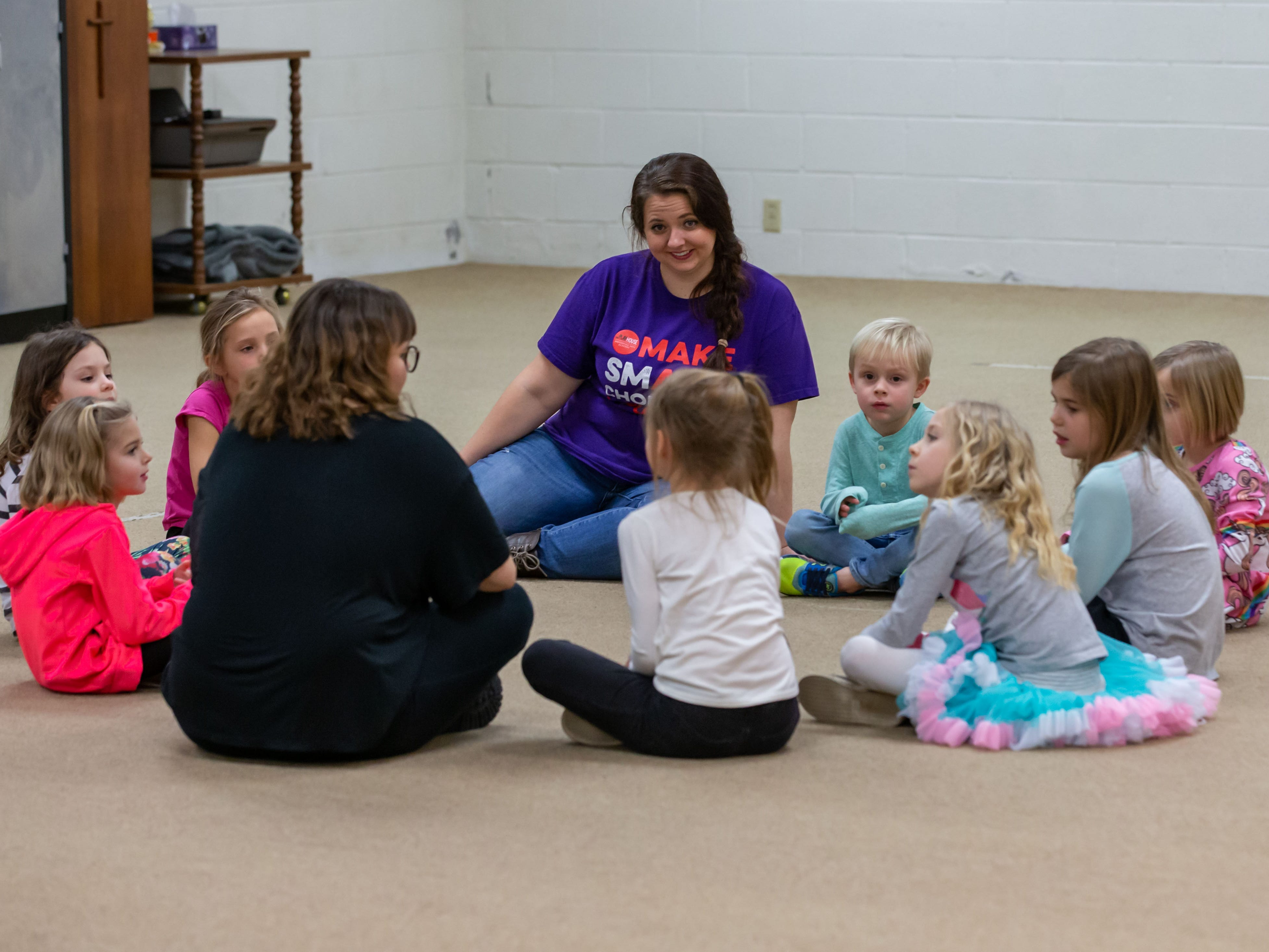 Lake Country Playhouse teaching artists Callyn Klohn (foreground) and Kathryn Mooers work with youngsters during a free, Open House theatre class in Hartland on Monday, Jan. 7, 2019. For more information visit LakeCountryPlayhouseWI.org.