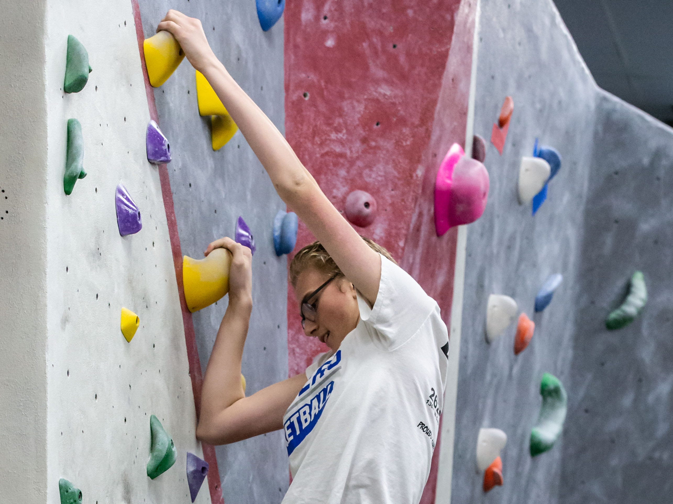 Brookfield Central freshman Matthew Nelson scales a bouldering wall during practice with his high school climbing team at Adventure Rock in Brookfield on Monday, Jan. 7, 2019.