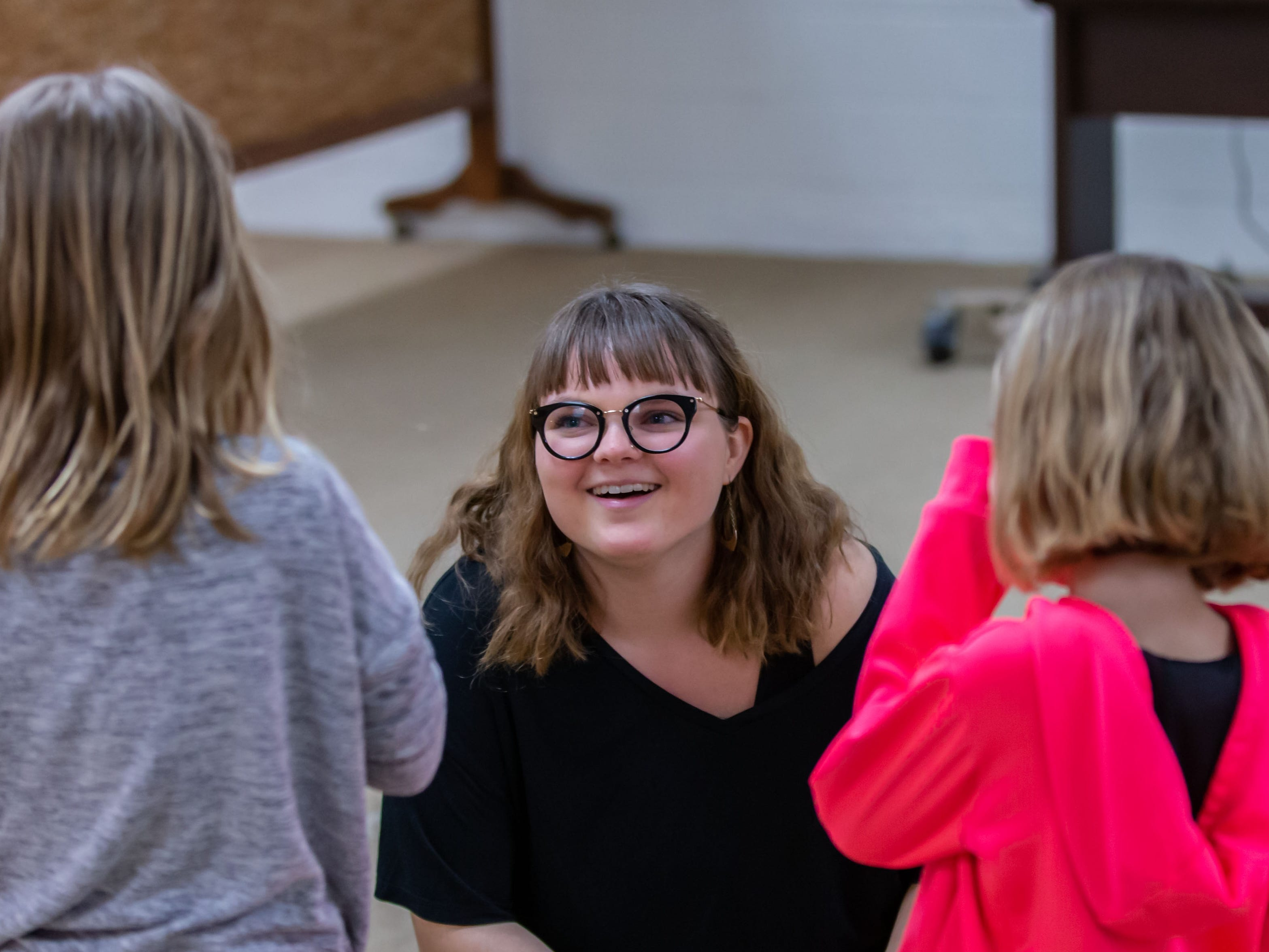 Lake Country Playhouse teaching artist Callyn Klohn works with youngsters during a free, Open House theatre class in Hartland on Monday, Jan. 7, 2019.