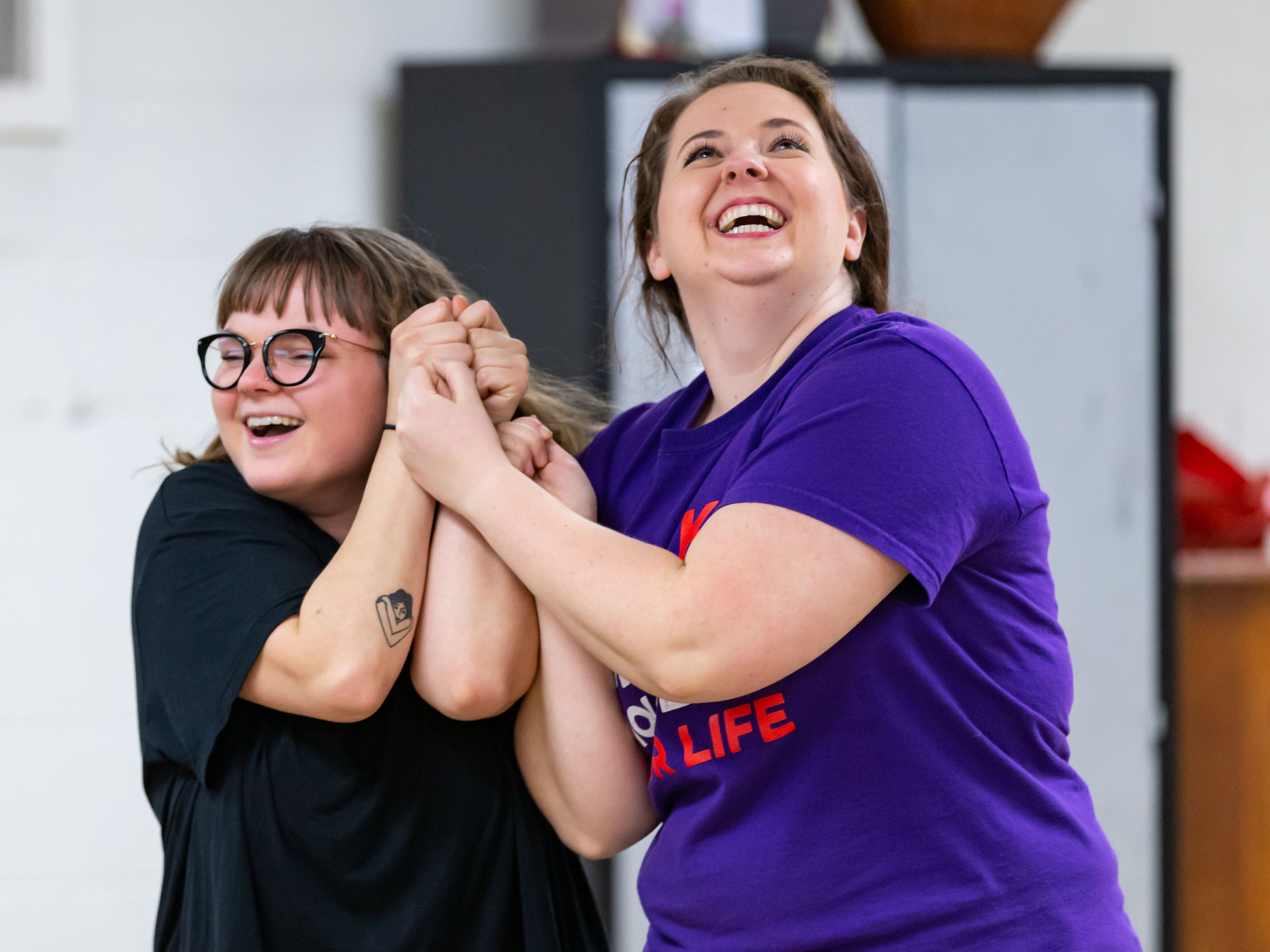 Lake Country Playhouse teaching artists Callyn Klohn (left) and Kathryn Mooers demonstrate a scene during a free, Open House theatre class in Hartland on Monday, Jan. 7, 2019. For more information visit LakeCountryPlayhouseWI.org.