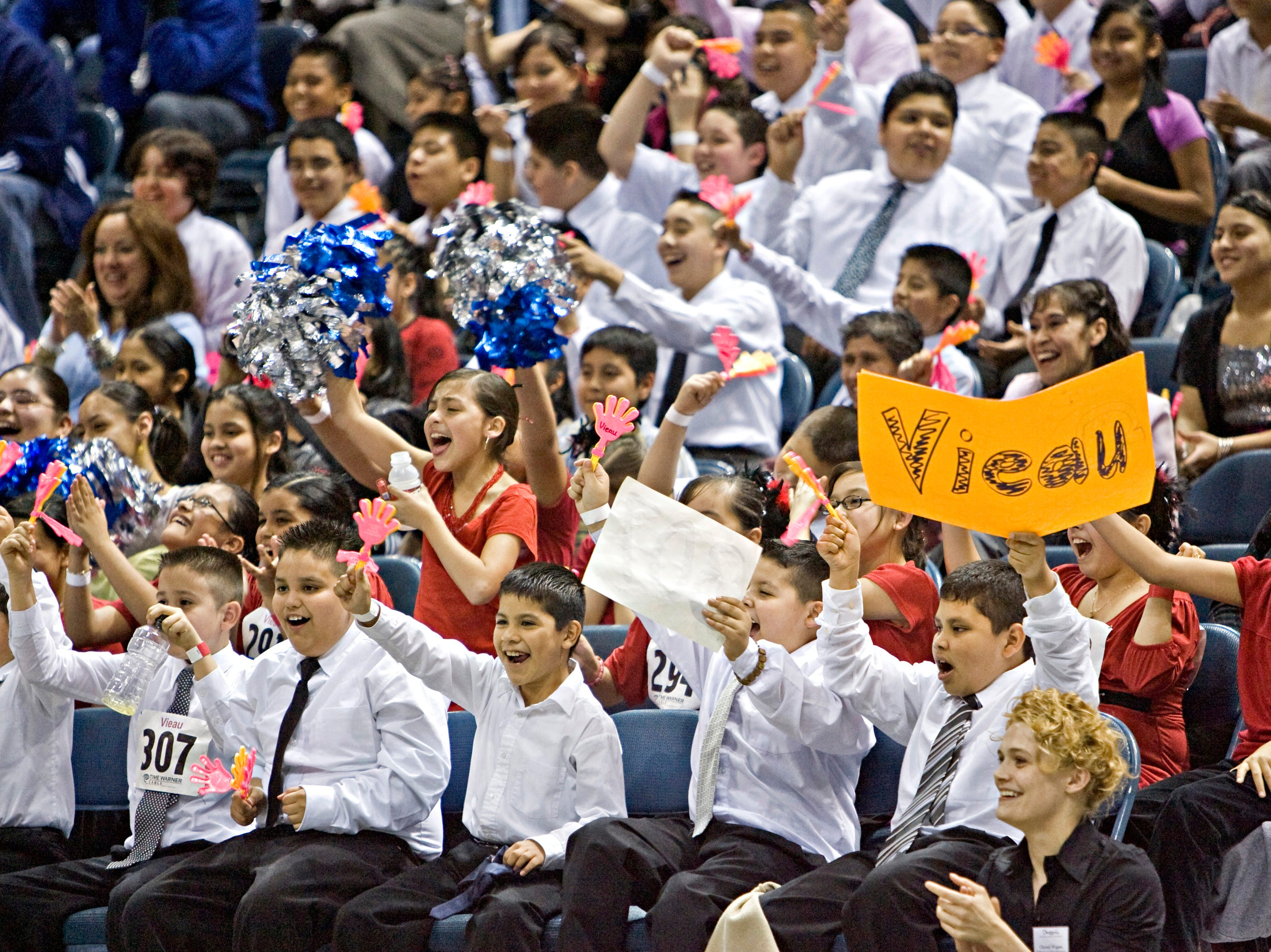 2008: Students from Vieau School cheer on their fellow dancers during the 2nd Annual Mad Hot Ballroom & Tap Competition at the Bradley Center.