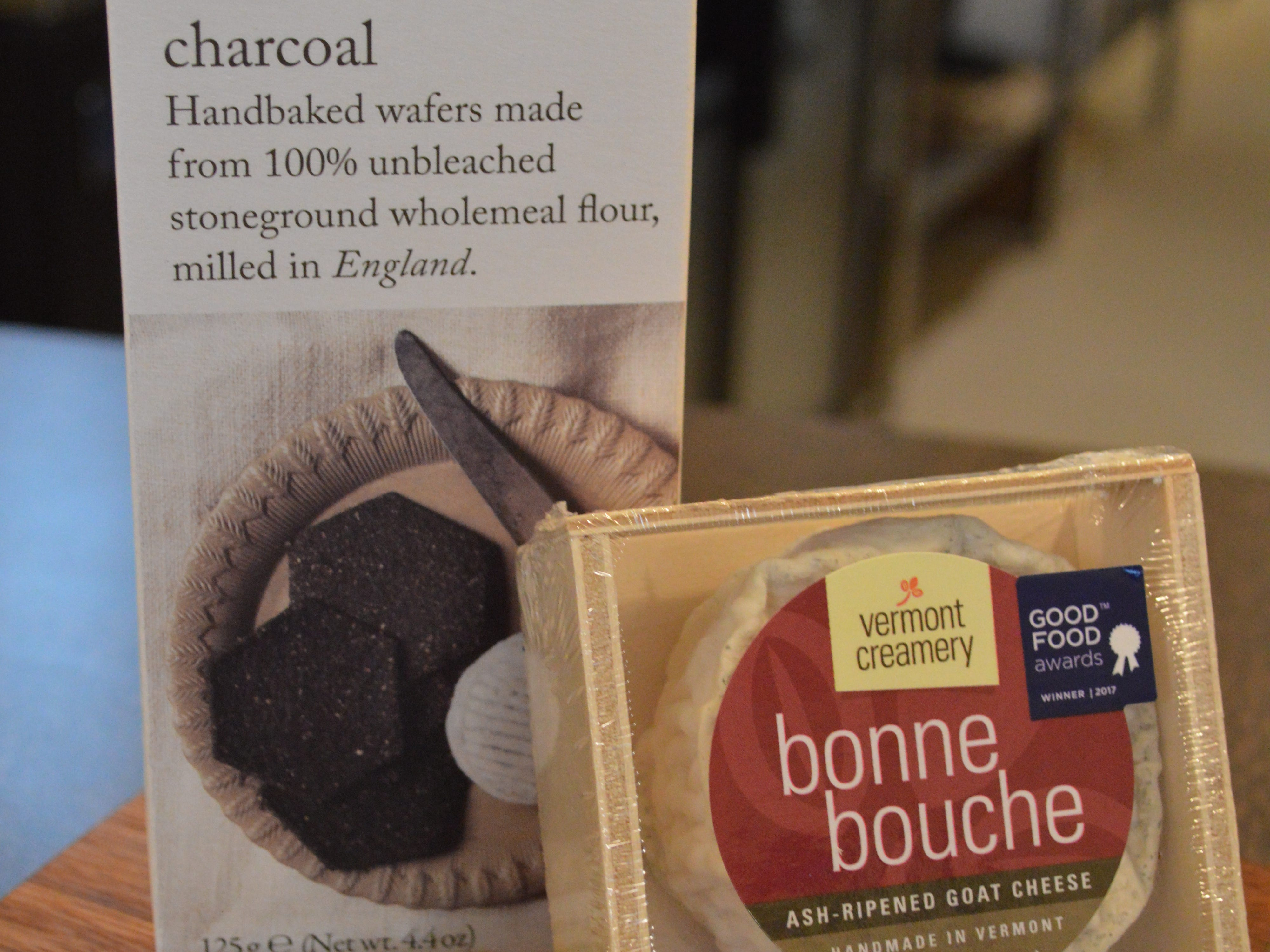 Pair Vermont Creamery'sBonne Bouche, a french-style goat's milk cheese, which has ash on the outside, with charcoal crackers.