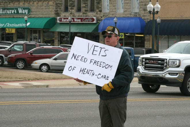 Midway resident and veteran Tom Cardwell was one of approximately 15 area veterans who attended a protest last Thursday in front of the Mountain Home Plaza 2000 Veteran's Memorial downtown. Veterans gathered to protest the limited services offered at the Mountain Home Veterans Administration CBOC (Community-Based Outpatients Clinic).