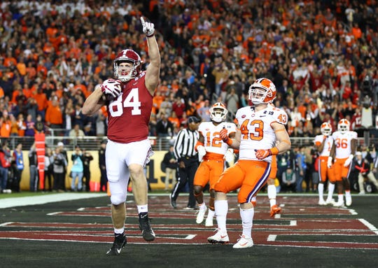 Jan 7, 2019; Santa Clara, CA, USA; Alabama Crimson Tide tight end Hale Hentges (84) celebrates after catching a touchdown pass against the Clemson Tigers in the first half during the 2019 College Football Playoff Championship game at Levi's Stadium. Mandatory Credit: Mark J. Rebilas-USA TODAY Sports