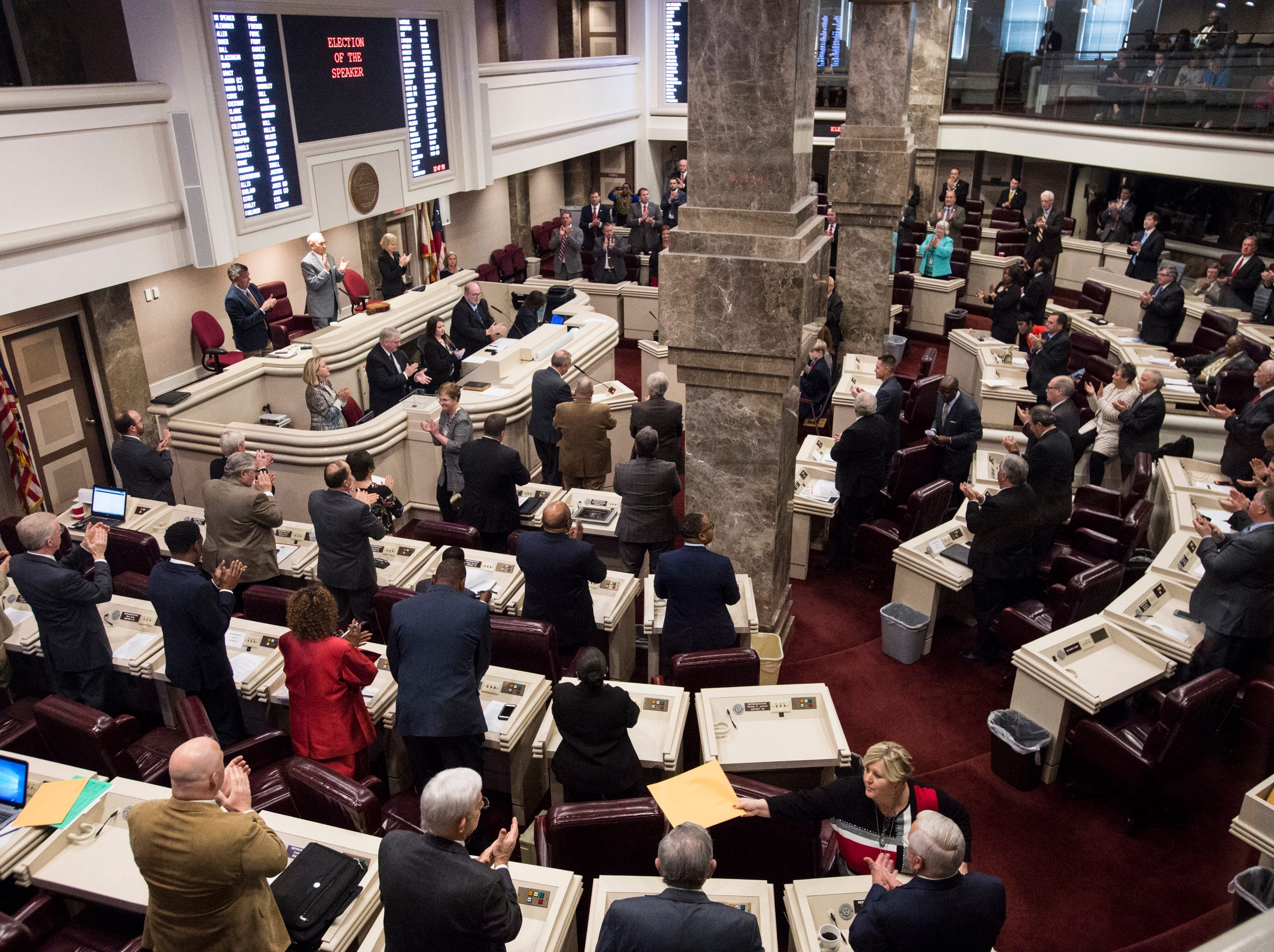 The Alabama House of Representatives during the 2019 Alabama Legislature's organizational session at the Alabama State House in Montgomery, Ala., on Tuesday, Jan. 8, 2019.