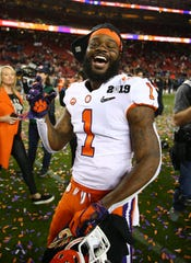 Jan 7, 2019; Santa Clara, CA, USA; Clemson Tigers wide receiver Trevion Thompson (1) celebrates after defeating the Alabama Crimson Tide in the 2019 College Football Playoff Championship game at Levi's Stadium. Mandatory Credit: Mark Rebilas-USA TODAY Sports