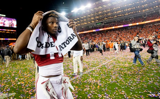 Alabama wide receiver Henry Ruggs, III, (11) walks off the field after losing to Clemson in the College Football Playoff National Championship game at Levi's Stadium in Santa Clara, Ca., on Monday January 7, 2019.