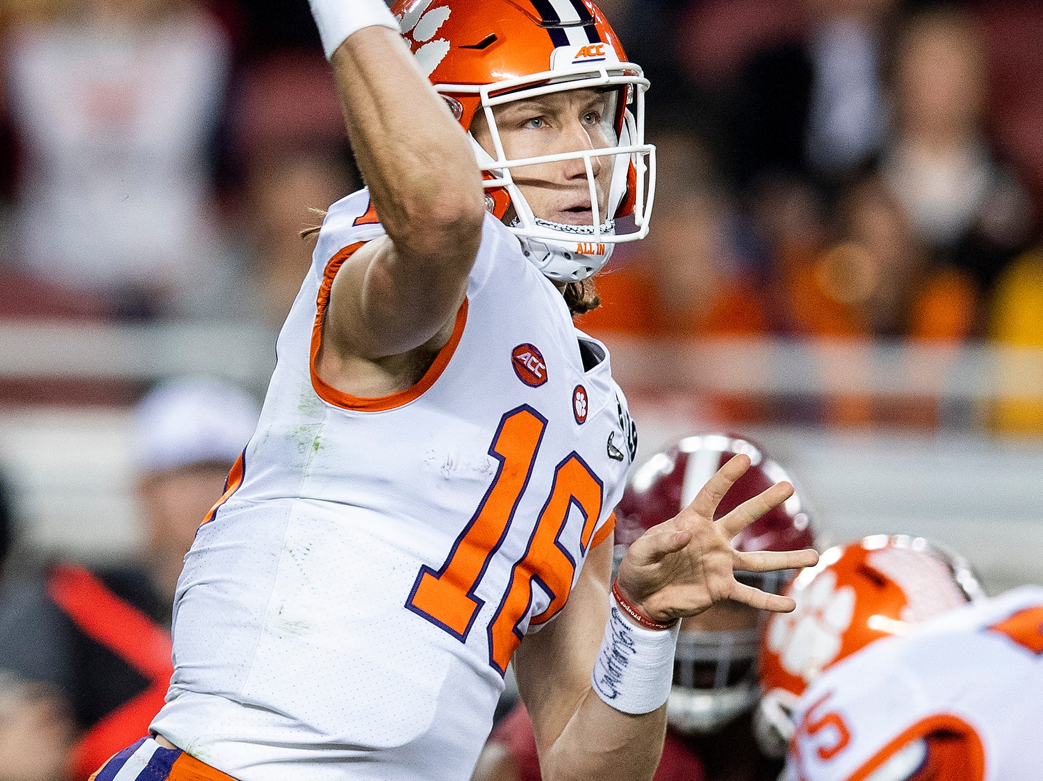Clemson quarterback Trevor Lawrence (16) passes In second half action of the College Football Playoff National Championship game at Levi's Stadium in Santa Clara, Ca., on Monday January 7, 2019.