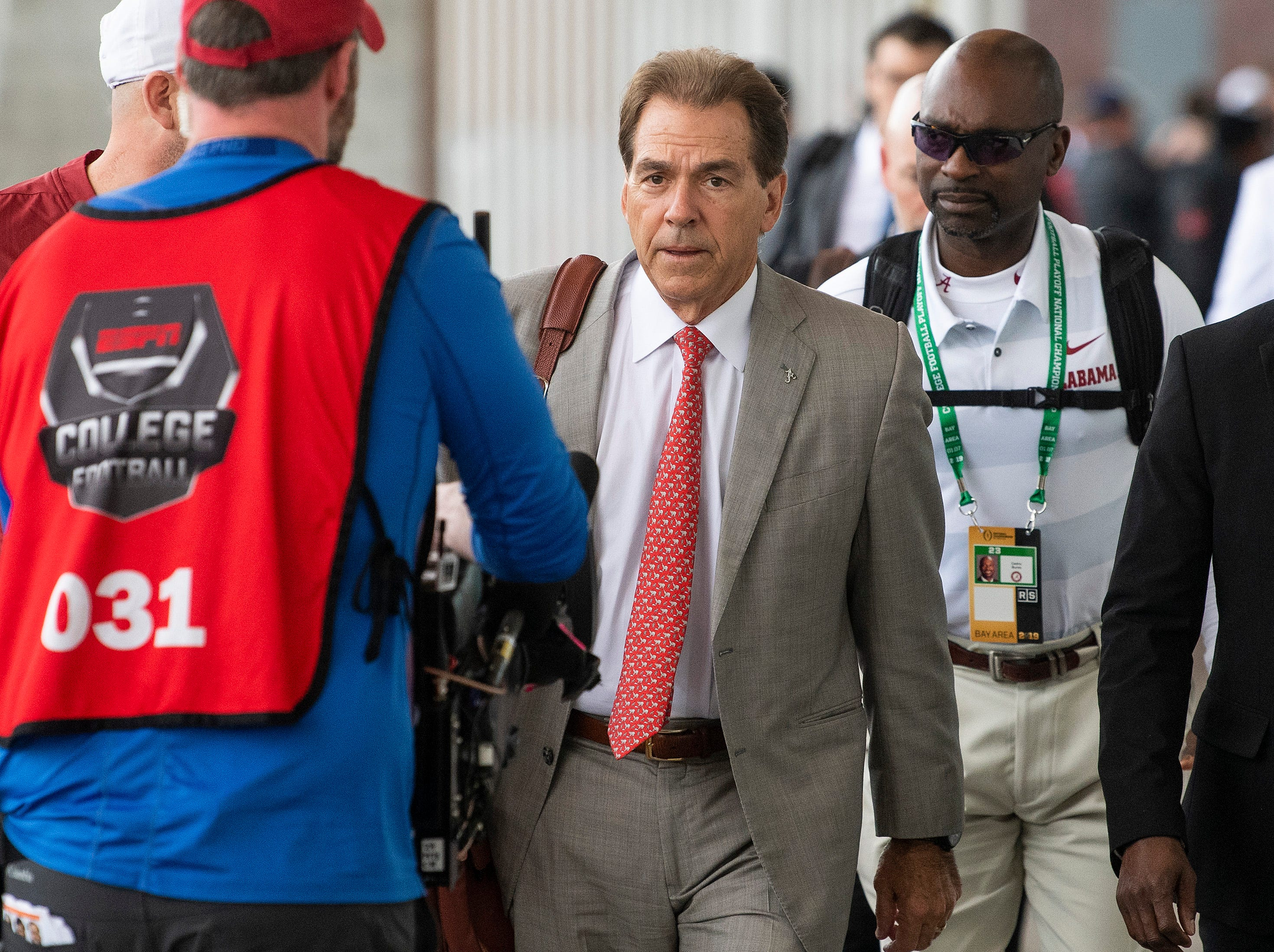 Alabama head coach Nick Saban arrives with his team before the College Football Playoff National Championship game at Levi's Stadium in Santa Clara, Ca., on Monday January 7, 2019.