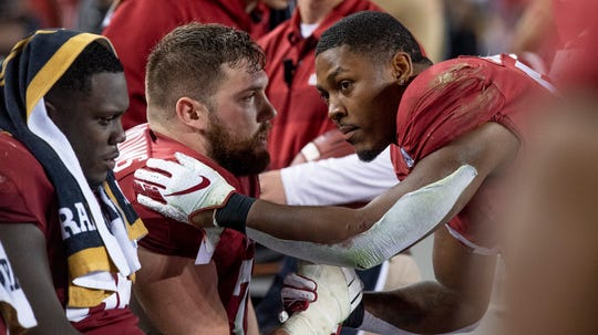 Alabama offensive lineman Jonah Williams (73) and Alabama running back Josh Jacobs (8) talk as time runs out against Clemson at the College Football Playoff National Championship game at Levi's Stadium in Santa Clara, Ca., on Monday January 7, 2019. At left is Alabama offensive lineman Lester Cotton (66).