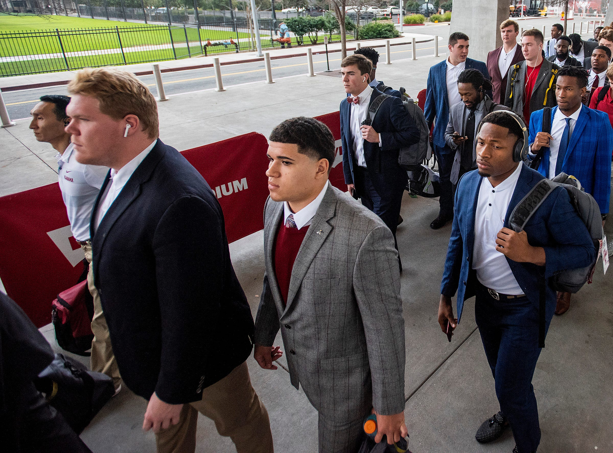 Alabama arrives for the College Football Playoff National Championship game at Levi's Stadium in Santa Clara, Ca., on Monday January 7, 2019.