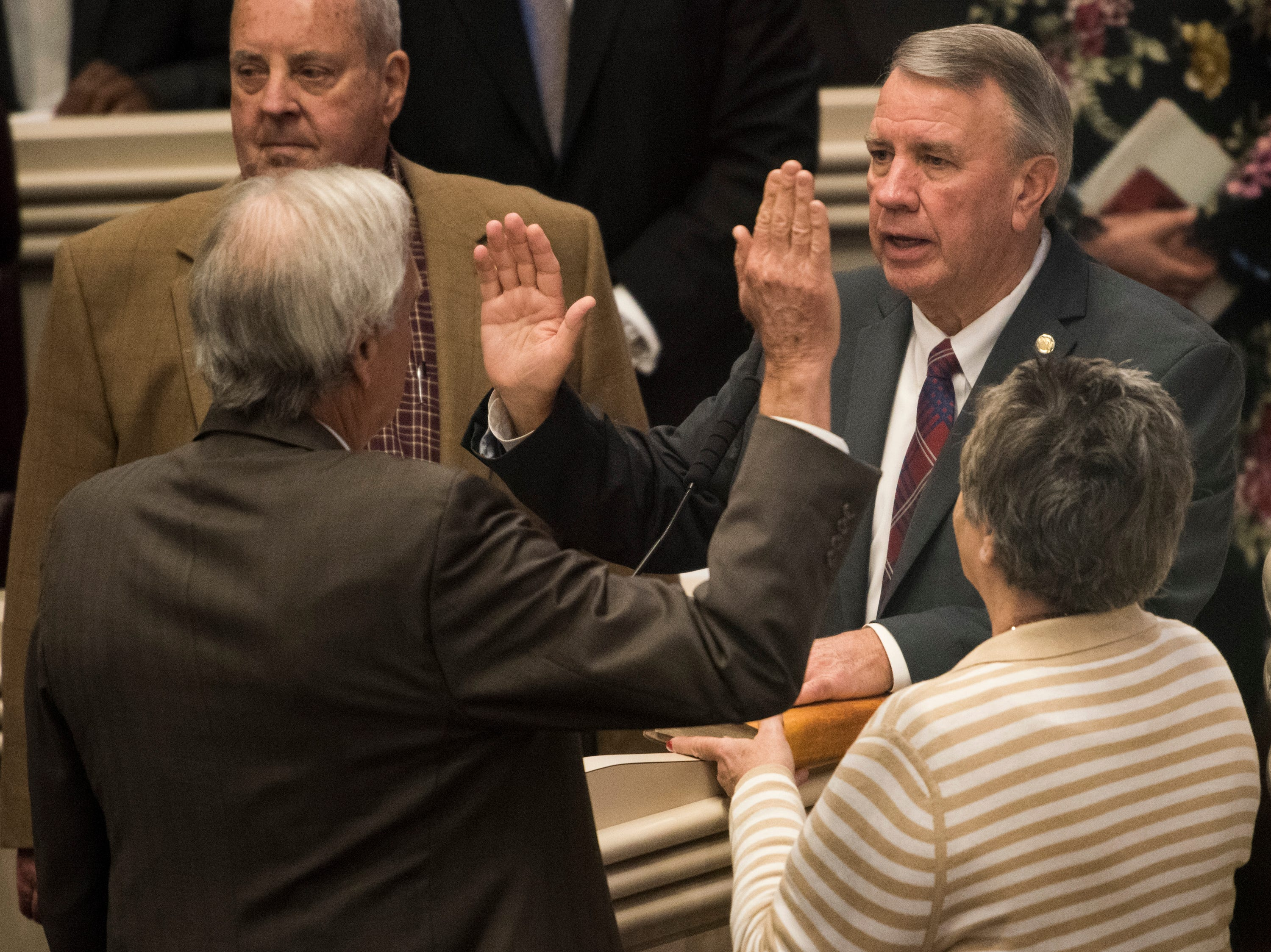 House Speaker Mac McCutcheon is sworn in during the 2019 Alabama Legislature's organizational session at the Alabama State House in Montgomery, Ala., on Tuesday, Jan. 8, 2019.