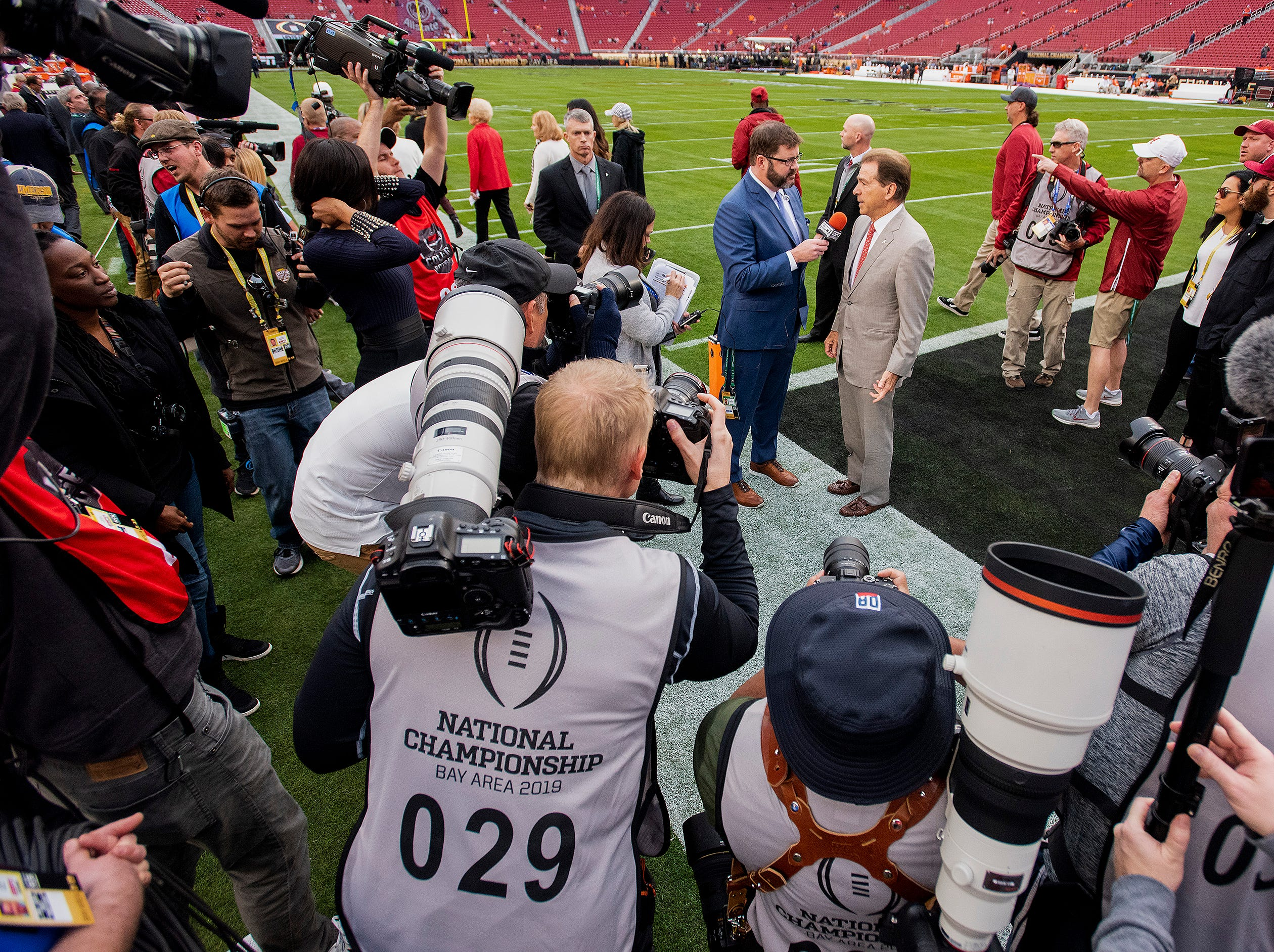 Alabama head coach Nick Saban talks with the media as he arrives for the College Football Playoff National Championship game at Levi's Stadium in Santa Clara, Ca., on Monday January 7, 2019.