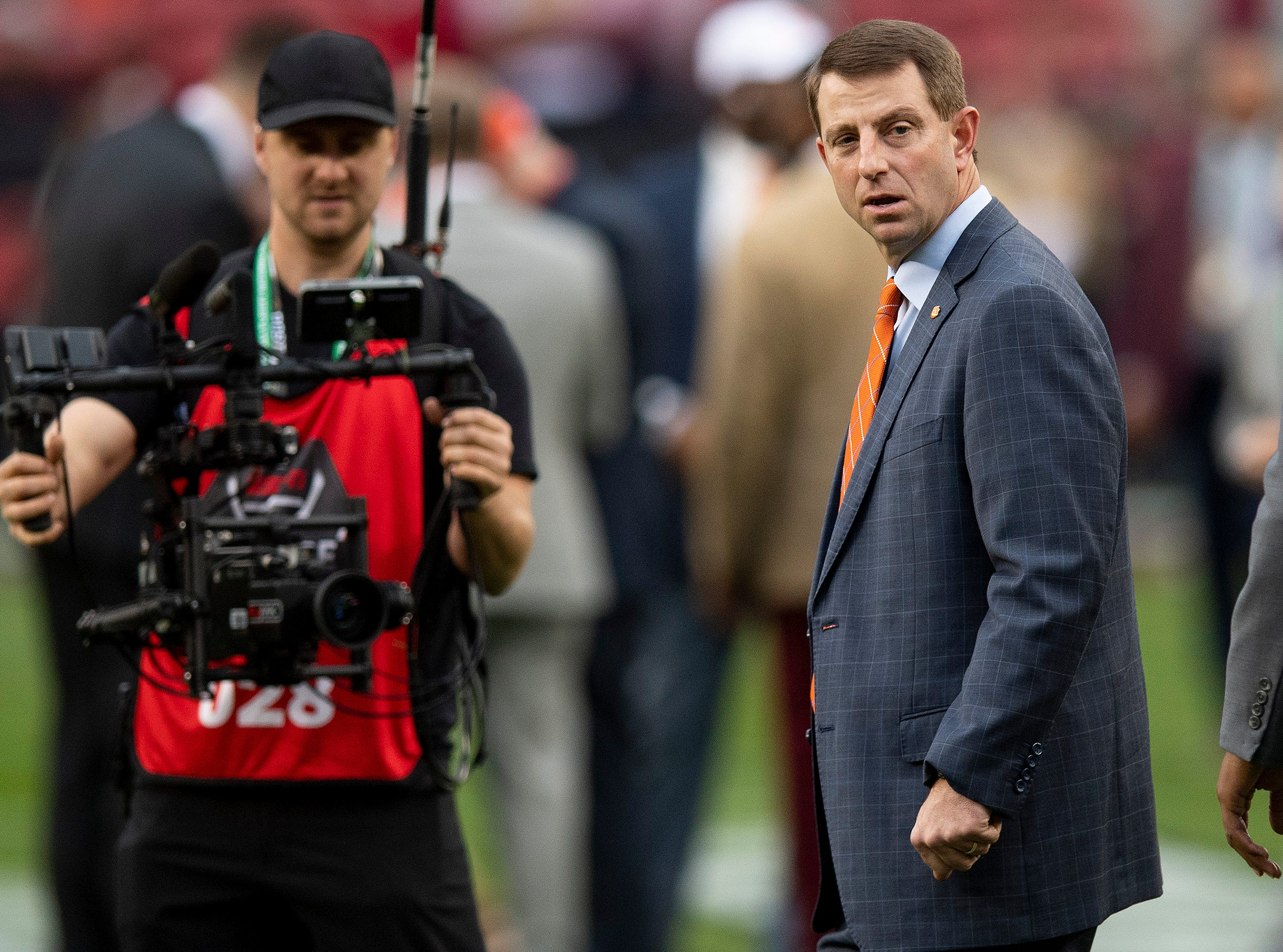 Clemson head coach Dabo Swinney arrives for the College Football Playoff National Championship game at Levi's Stadium in Santa Clara, Ca., on Monday January 7, 2019.
